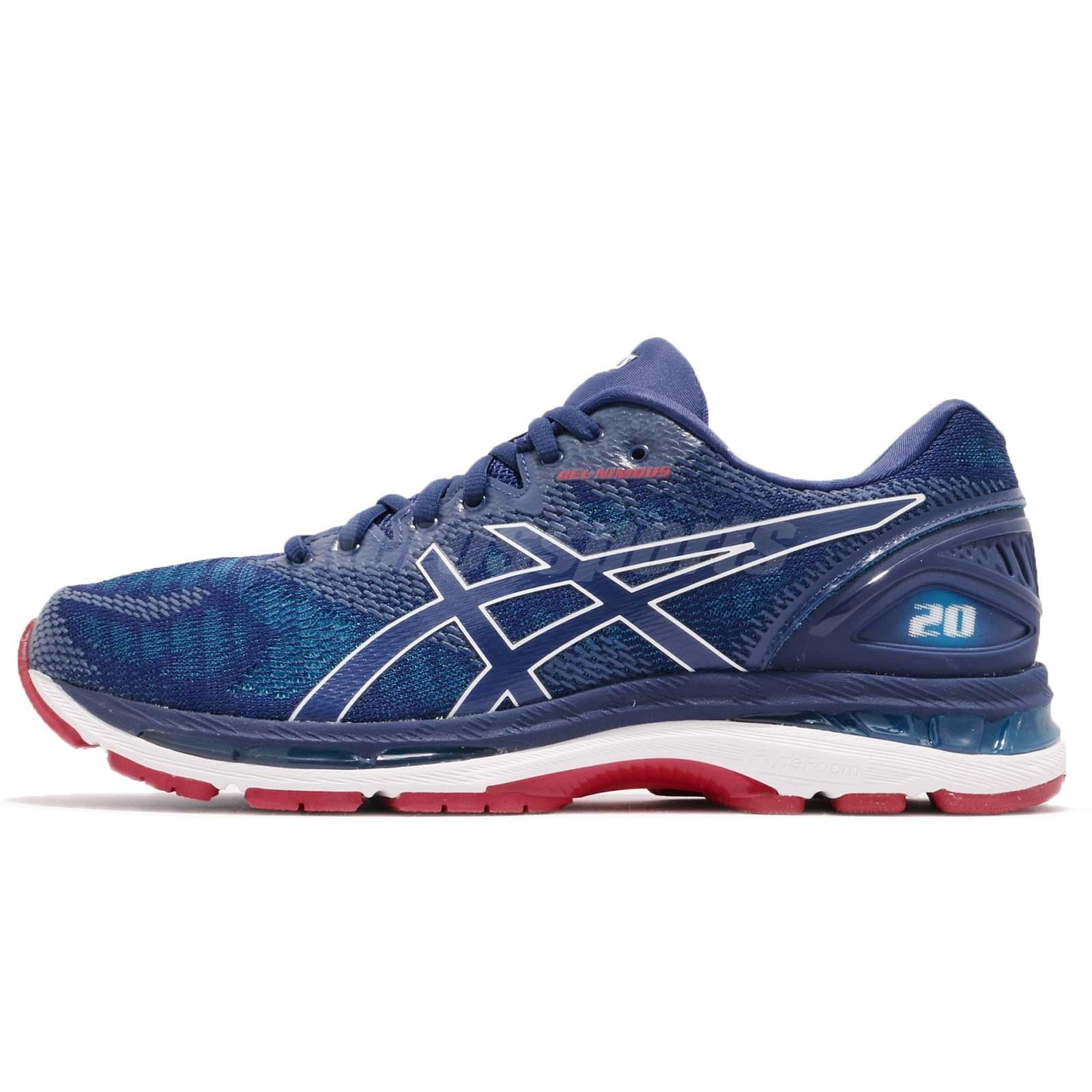 Asics Gel-Nimbus 20 4E Extra Wide Race Blue Print Men Running Shoes  T802N-400 f189d814ab40d