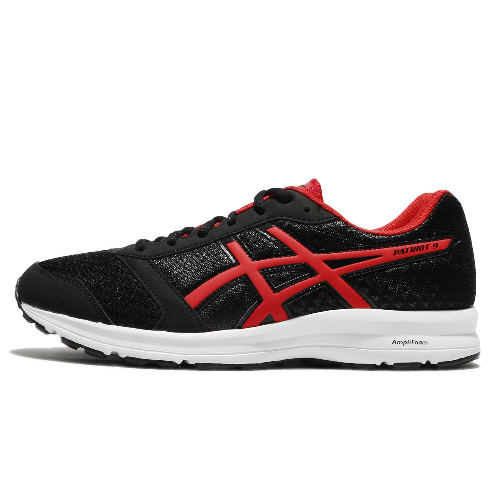 Asics Patriot 9 Black Red White Men Running Athletic Shoes Sneakers T823N 9023