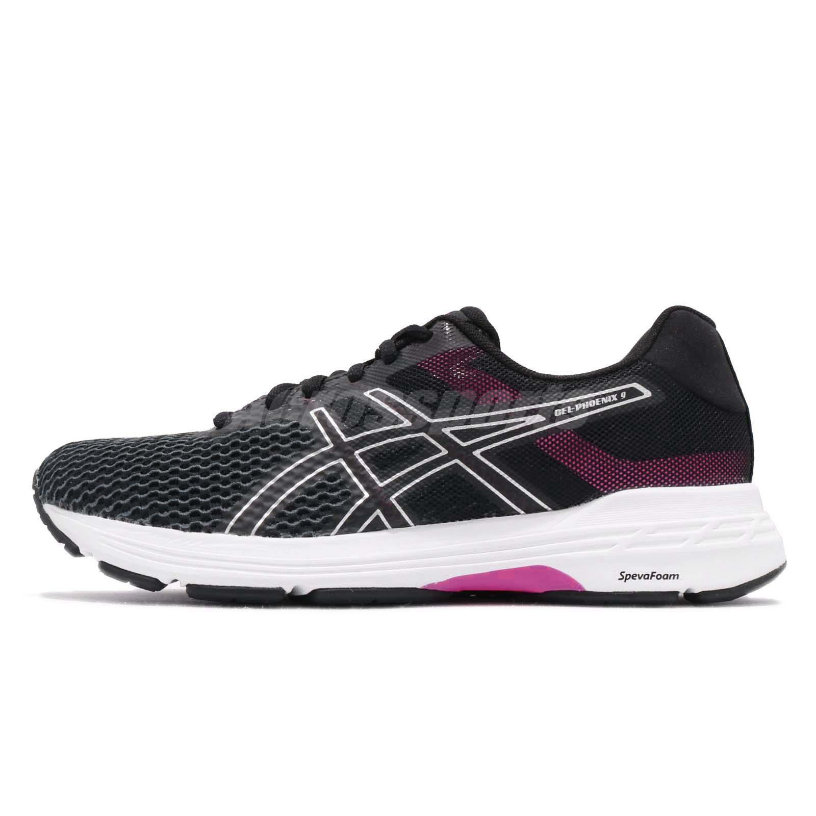 1eb9a4123c58 Asics Gel-Phoenix 9 Black Silver Fuchsia Red Women Running Shoes T872N-9093