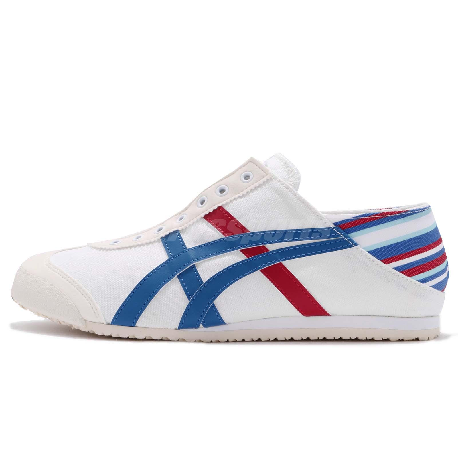 wholesale dealer b58a9 d0662 Details about Asics Onitsuka Tiger Mexico 66 PARATY White Blue Men Slip On  Casual TH6P4N-0142