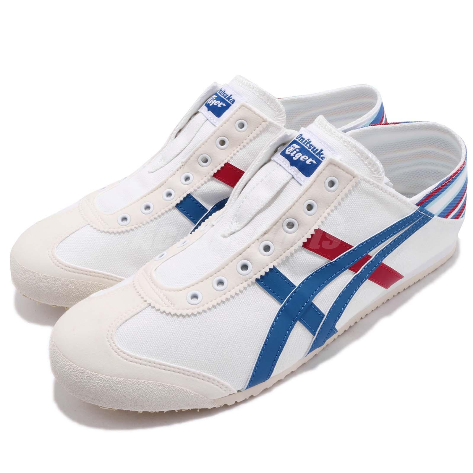wholesale dealer fbf9c 46fb3 Details about Asics Onitsuka Tiger Mexico 66 PARATY White Blue Men Slip On  Casual TH6P4N-0142