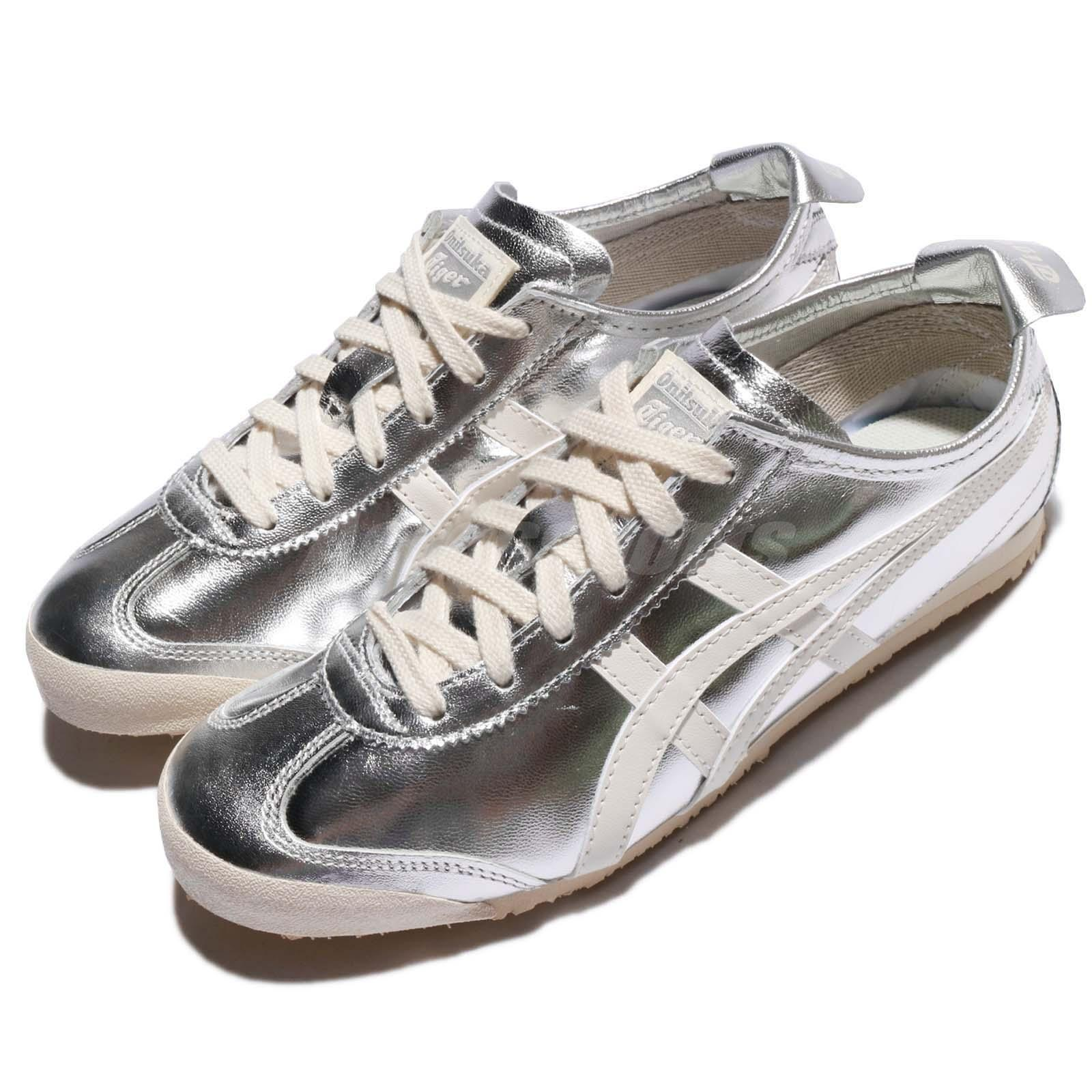best service 8c300 d1a40 Details about Asics Onitsuka Tiger Mexico 66 Patent Leather Silver Off  White Men THL7C2-9399