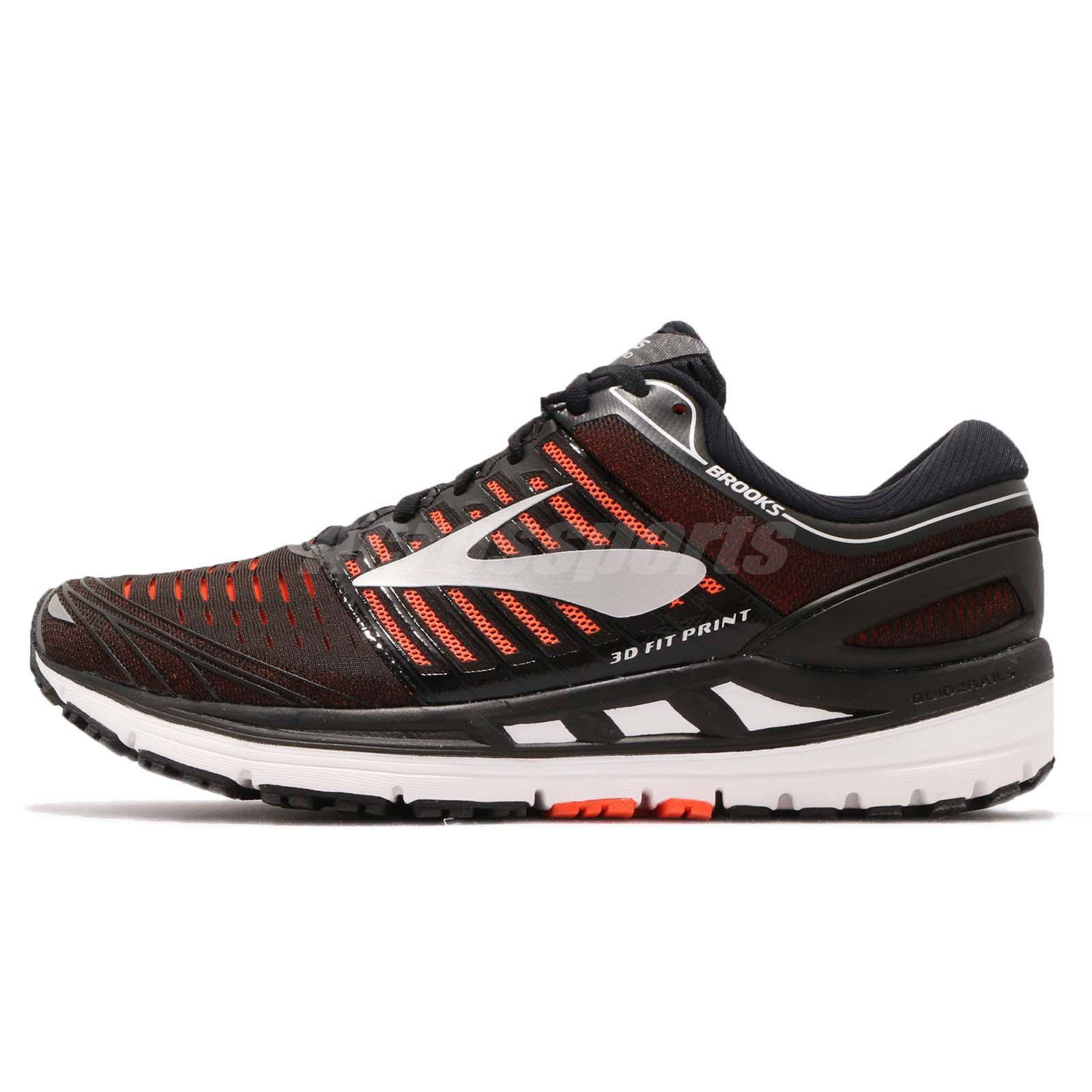 5f6954f99b3f3 Brooks Transcend 5 Black Orange Silver Men Running Shoes Sneakers 110276 1D