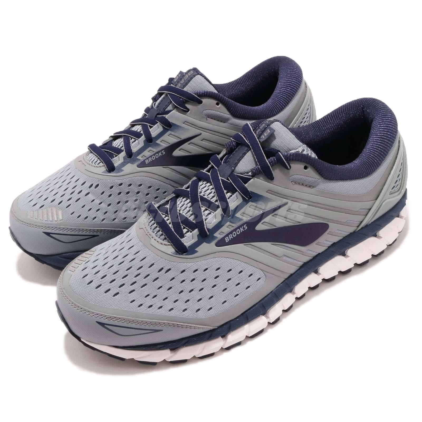3f66c449b9a Details about Brooks Beast 18 4E Extra Wide Grey Navy White Men Running  Shoes 110282 4E