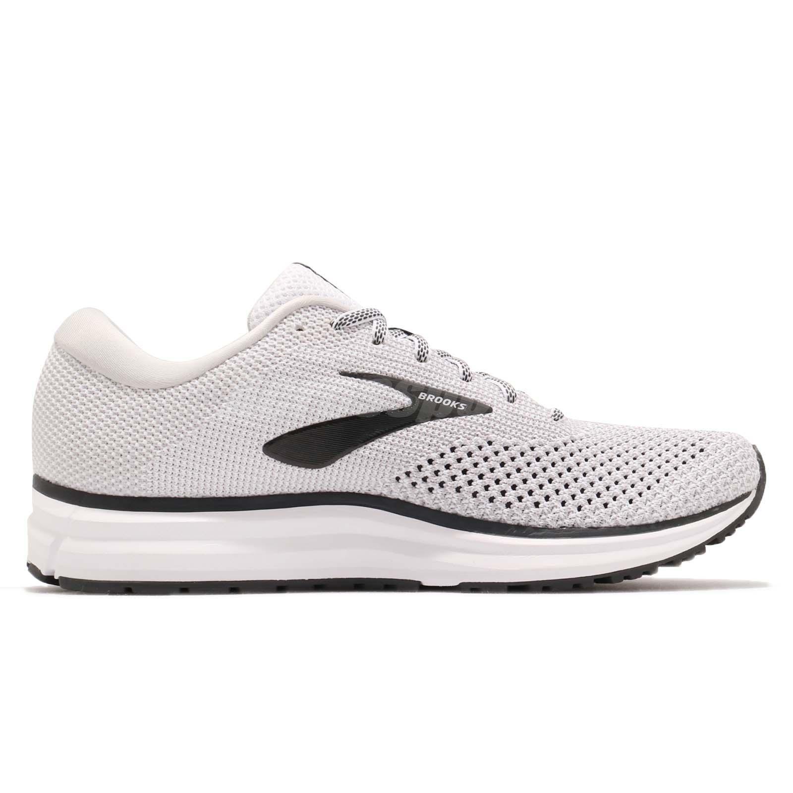 65cb3d2d2cd Brooks Revel 2 White Grey Black Men Running Training Shoes Sneakers ...