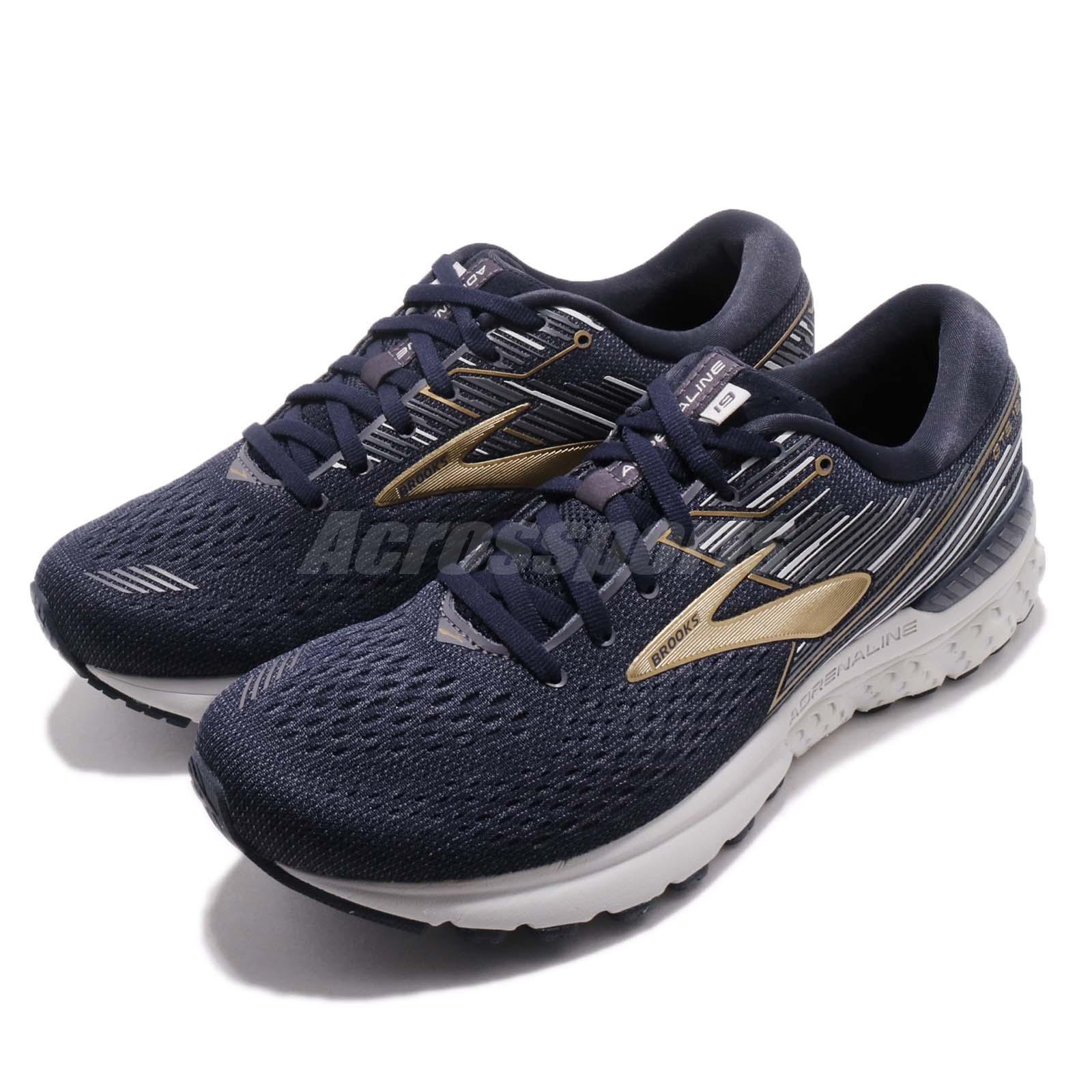 98cf6424f85 Details about Brooks Adrenaline GTS 19 2E Wide Navy Gold Grey Men Running  Shoes 110294 2E