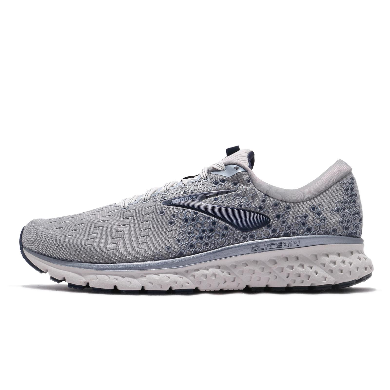 1e7eafd5366 Brooks Glycerin 17 2E Wide Grey Navy White Men Running Shoes Sneakers  110296 2E