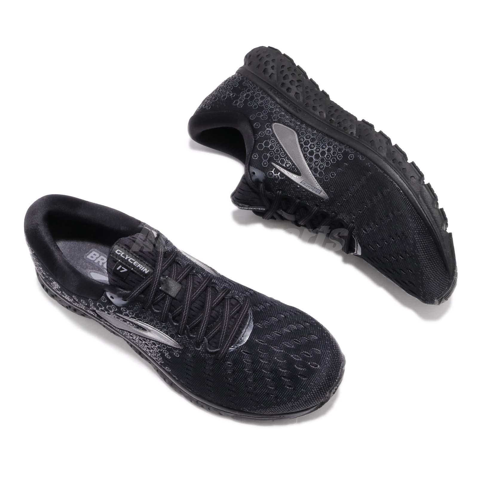 12110977fd38d Brooks Glycerin 17 2E Wide Black Ebony Men Running Shoes Sneakers ...