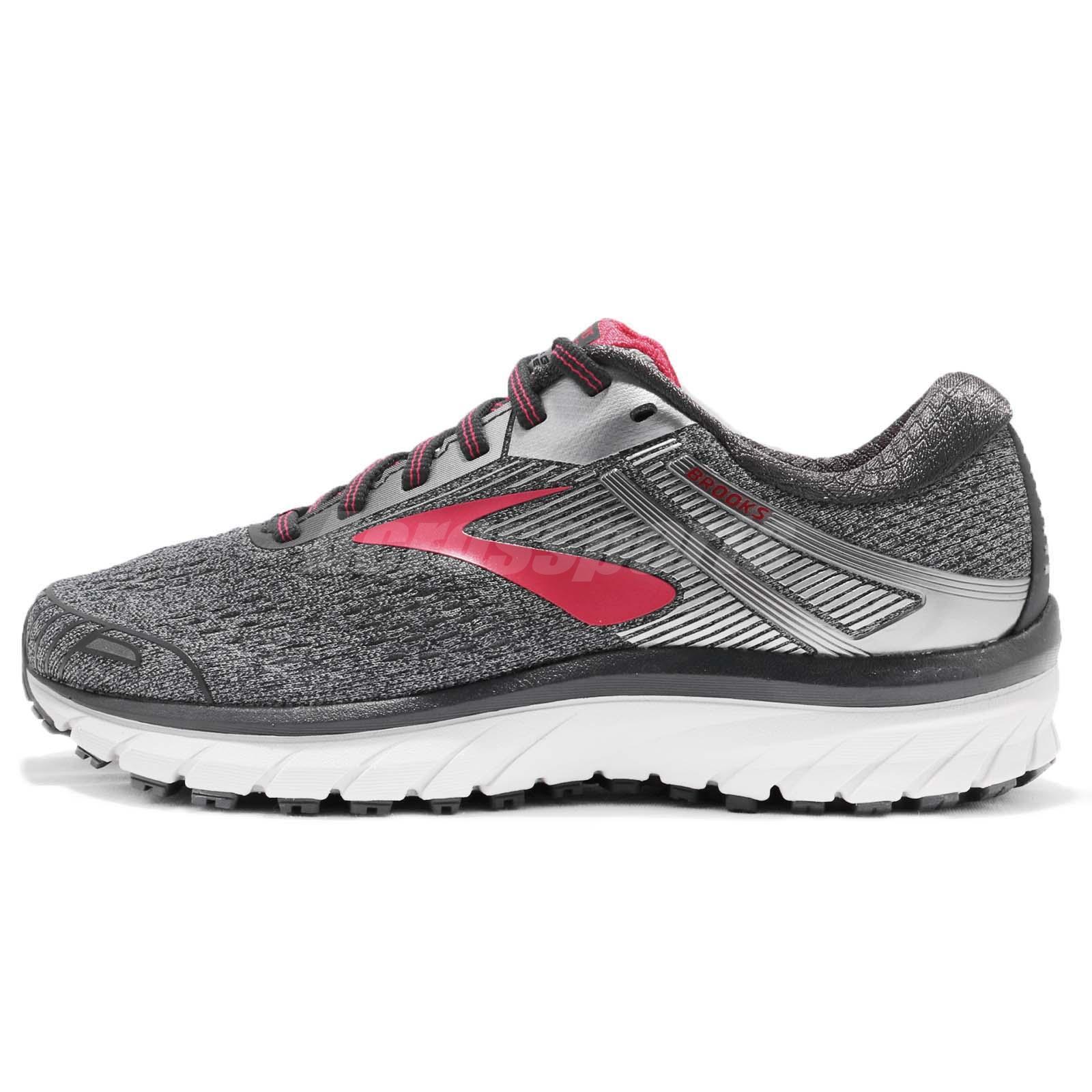 24a7ed53d56 Brooks Adrenaline GTS 18 D Wide Grey Silver Pink Women Running Shoes  1202681 D