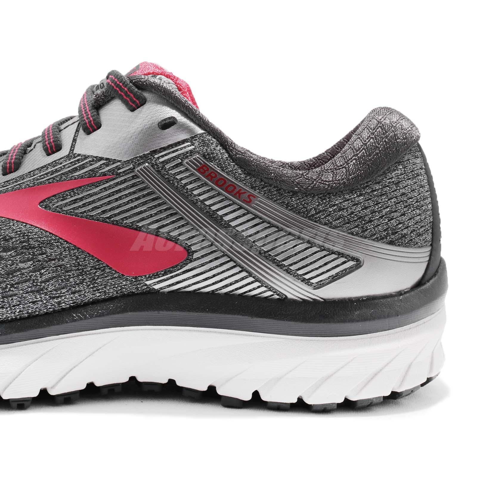 b31eca73781 Brooks Adrenaline GTS 18 D Wide Grey Silver Pink Women Running Shoes ...