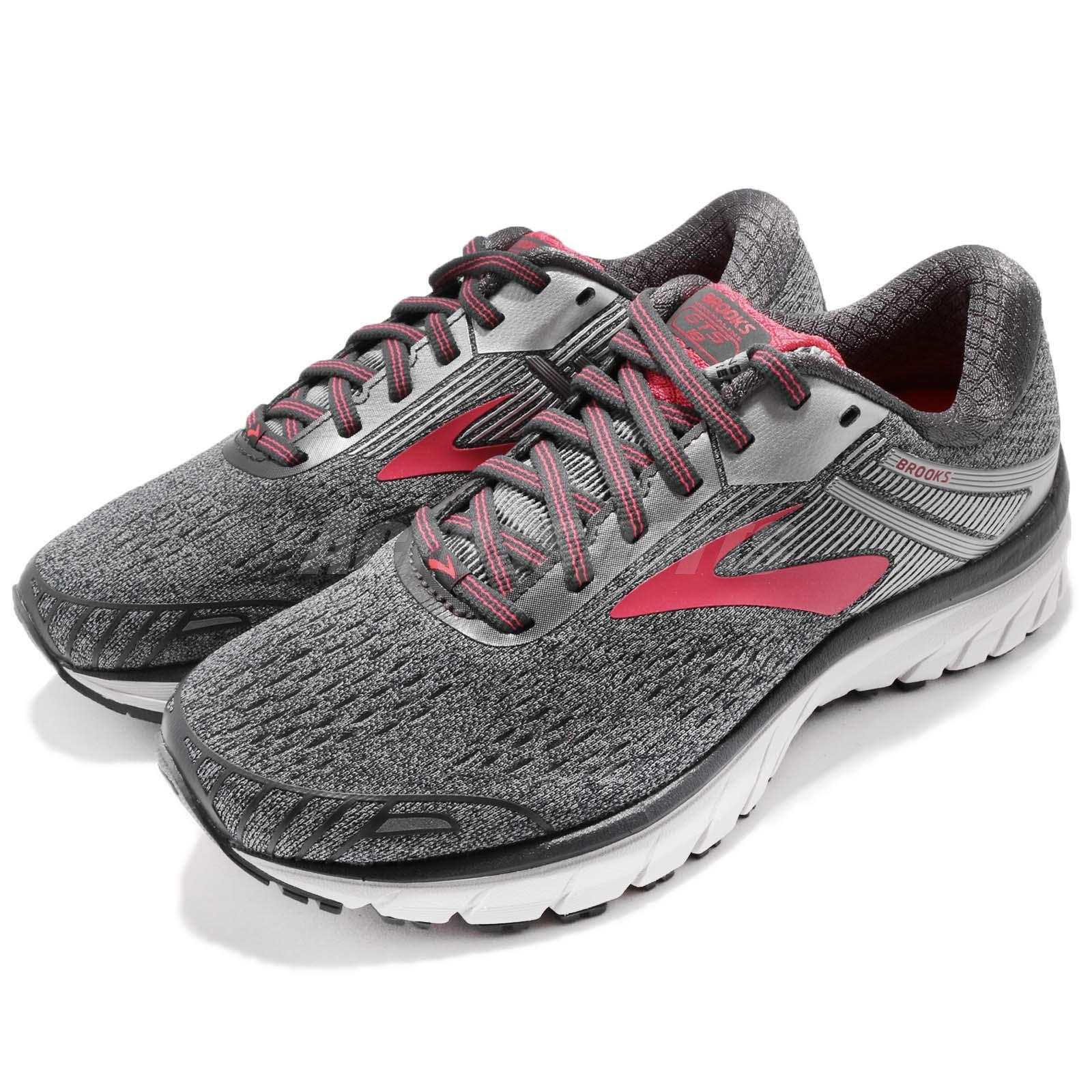 22988fa2460 Details about Brooks Adrenaline GTS 18 D Wide Grey Silver Pink Women  Running Shoes 1202681 D