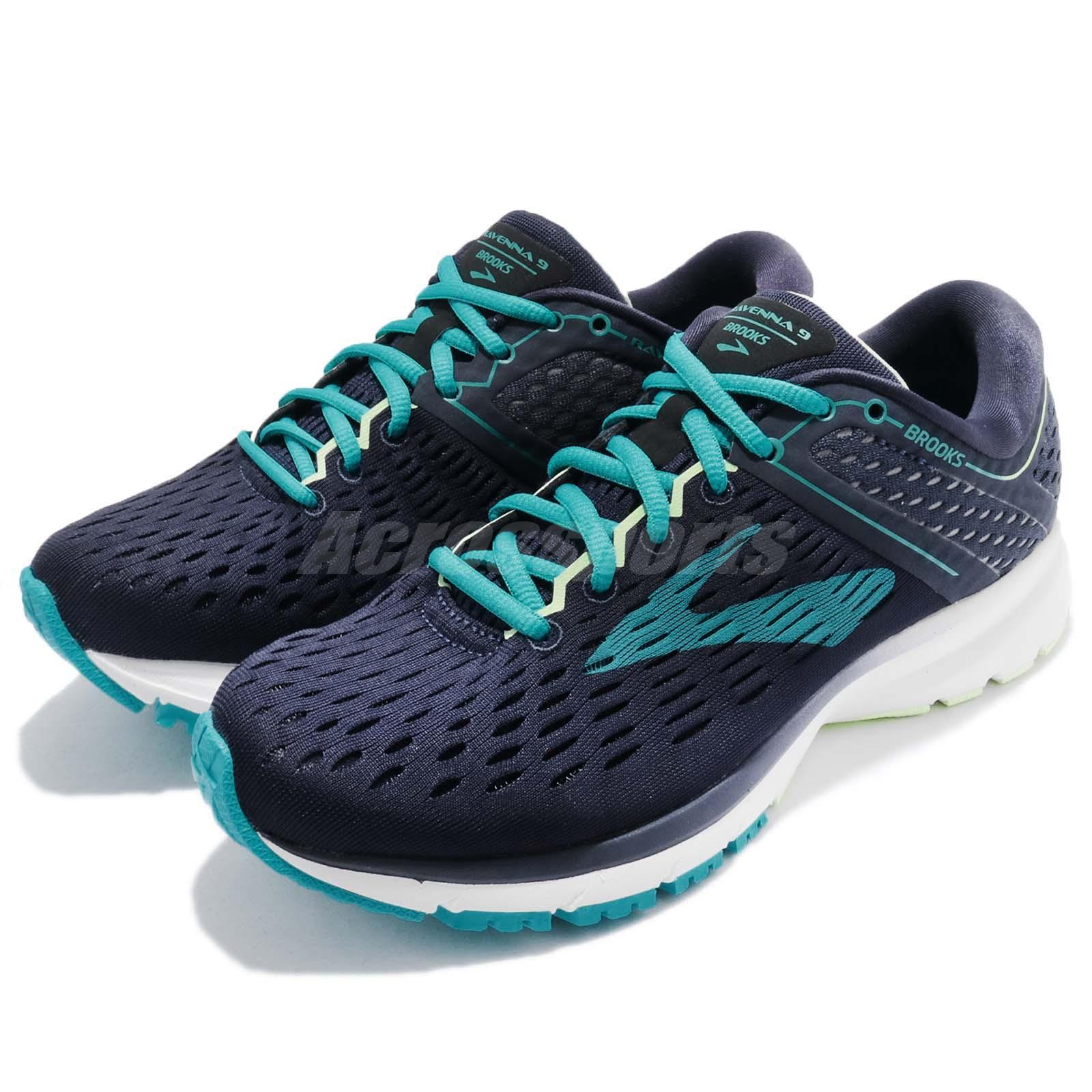 b09fafe26a44f Details about Brooks Ravenna 9 D Wide Navy Blue White Women Running Shoes  Sneakers 1202691 D