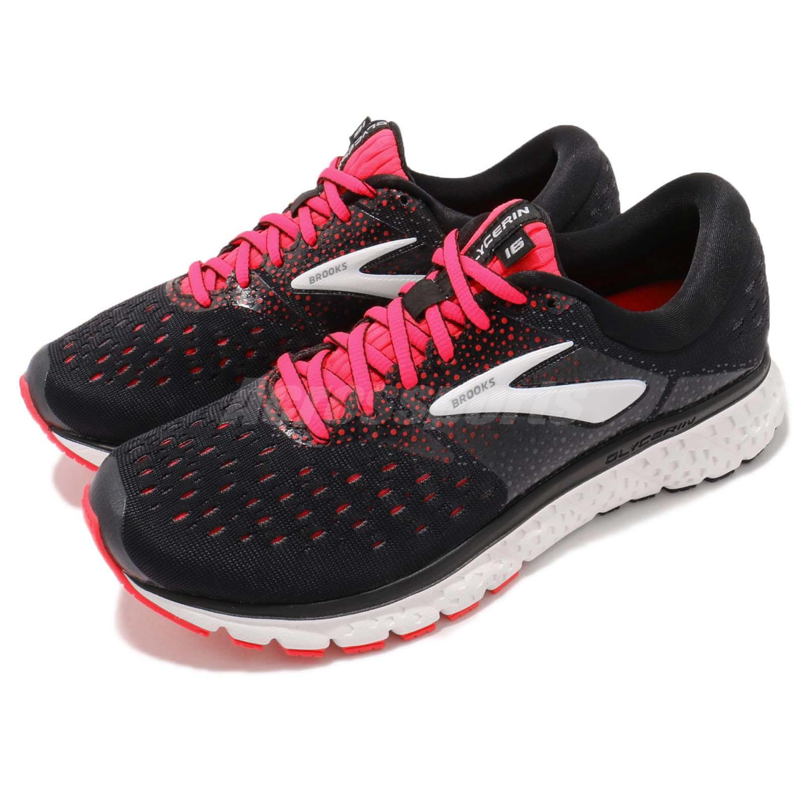 696f1cd8fe8 Details about Brooks Glycerin 16 D WIDE Black Pink White Women Running Shoes  Sneaker 120278 1D