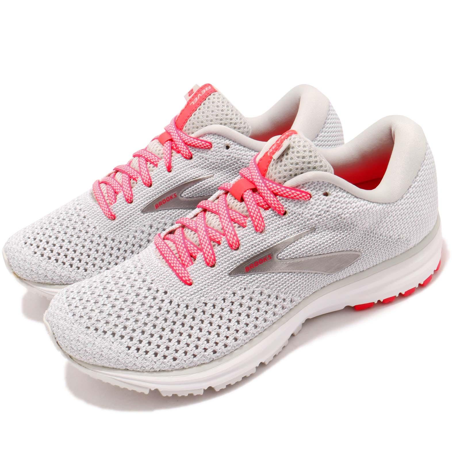 fa8be209de3 Details about Brooks Revel 2 Grey White Pink Women Running Training Shoes  Sneakers 120281 1B