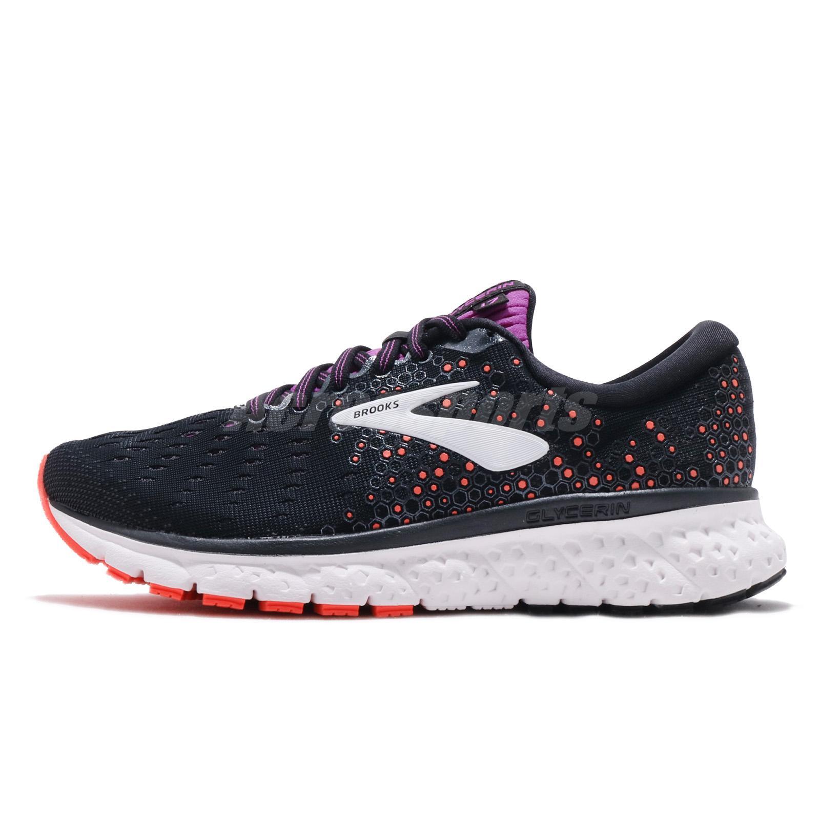 8e8b6e7fcc04b Brooks Glycerin 17 D Wide Black Fiery Coral Purple Women Running Shoes  120283 1D