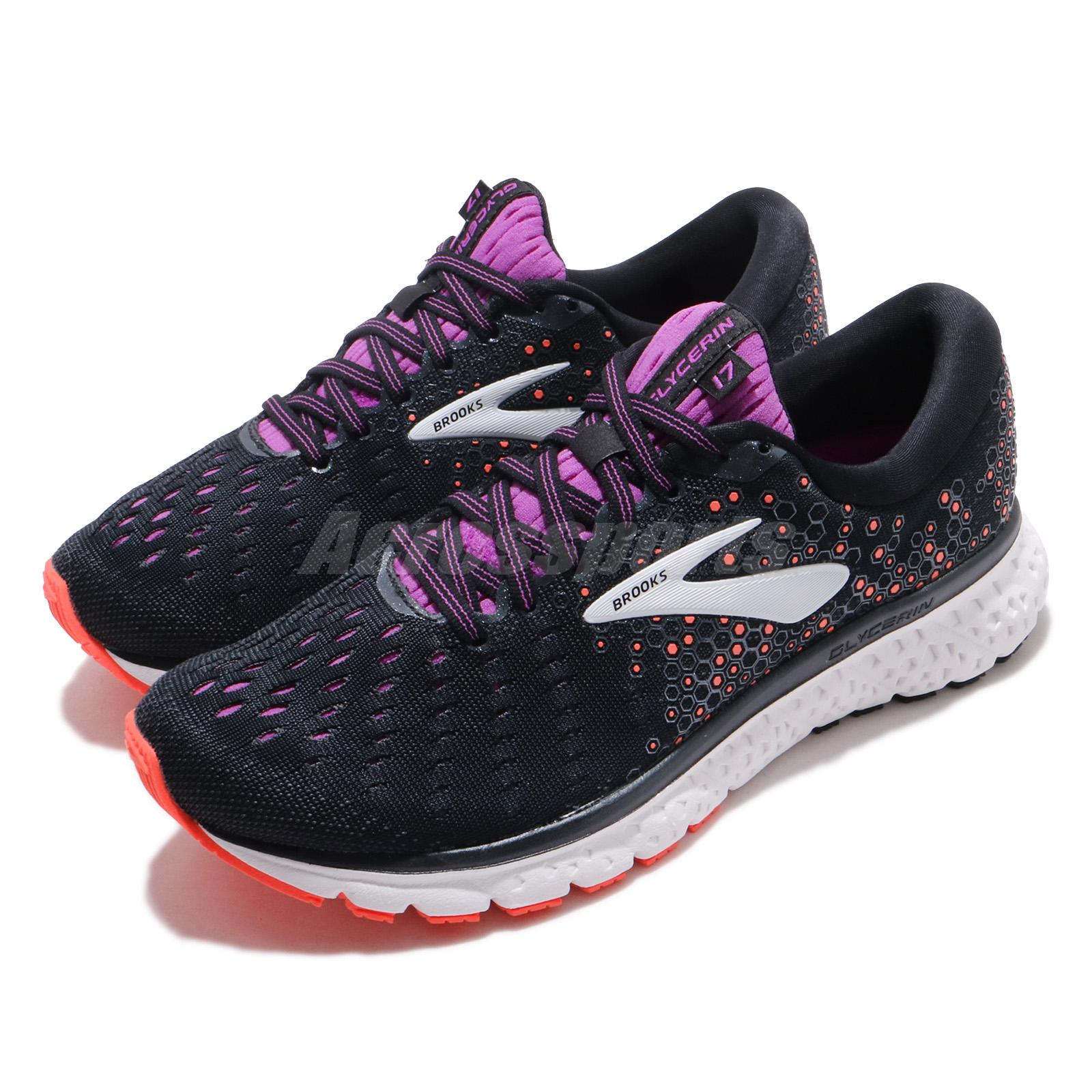 fed8a191846 Details about Brooks Glycerin 17 D Wide Black Fiery Coral Purple Women  Running Shoes 120283 1D