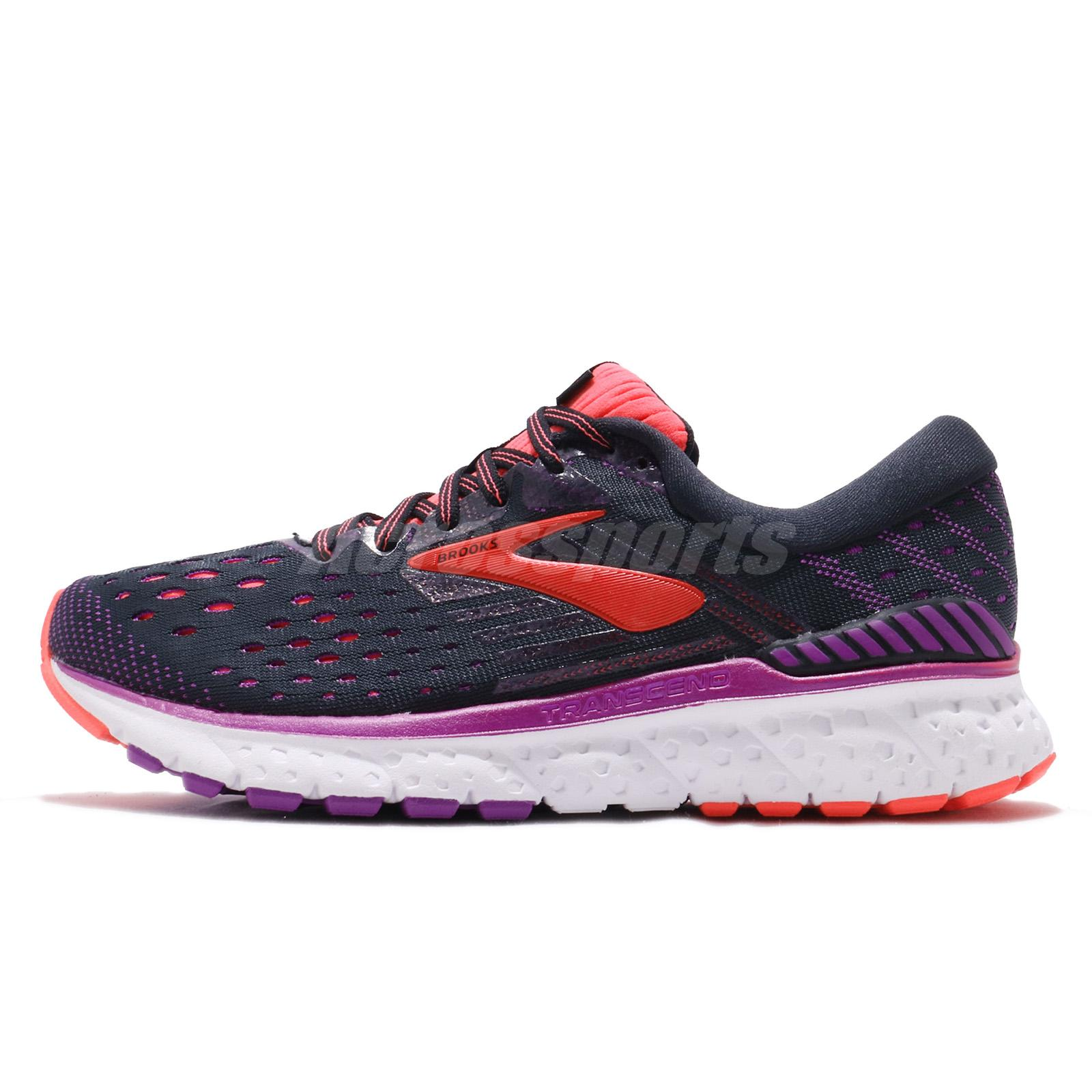 acbd8dcee43 Brooks Transcend 6 Black Purple Coral Women Running Shoes Sneakers 120287 1B
