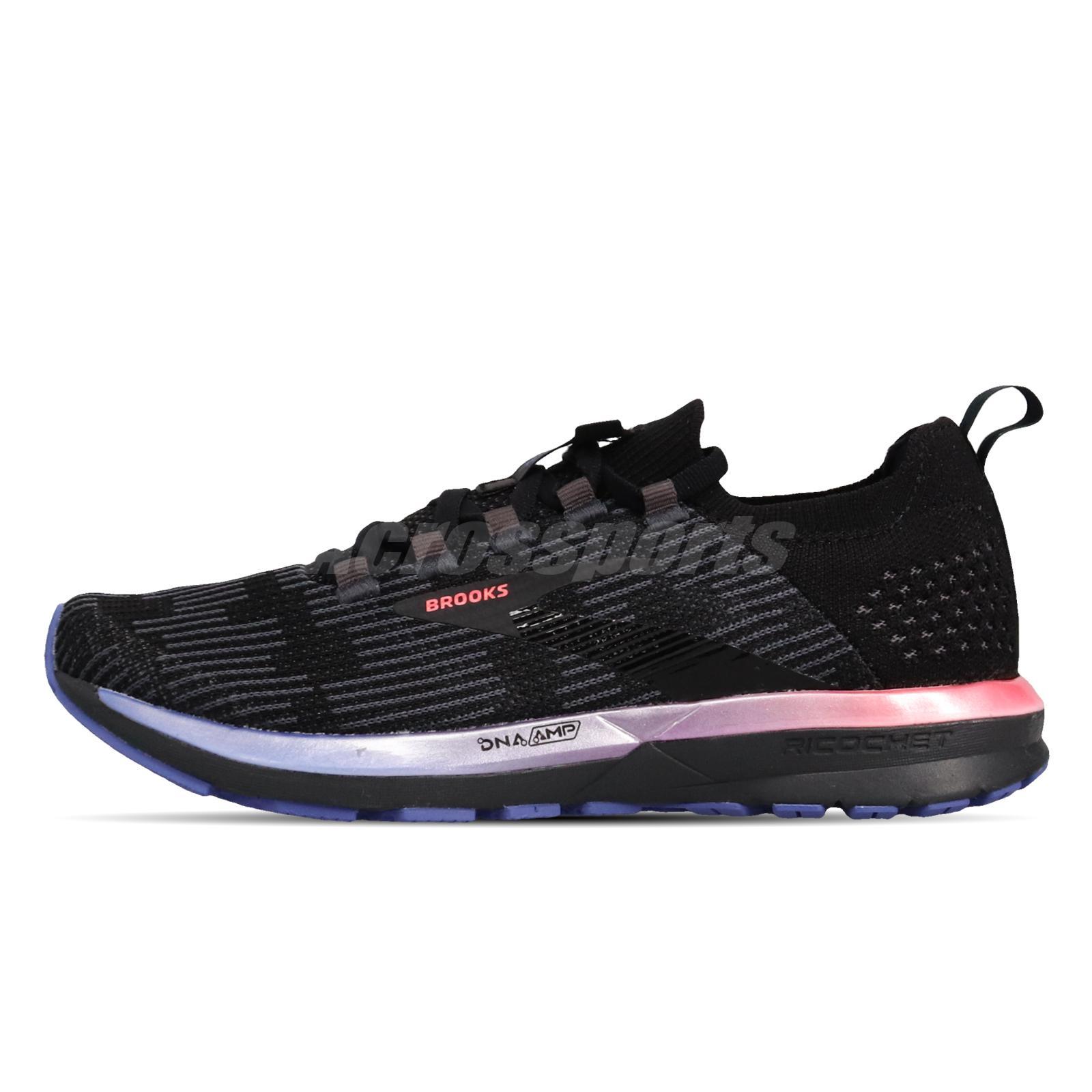 Brooks Ricochet 2 Black Blue Pink Womens Running Shoes Fit Knit 120303-1B-015