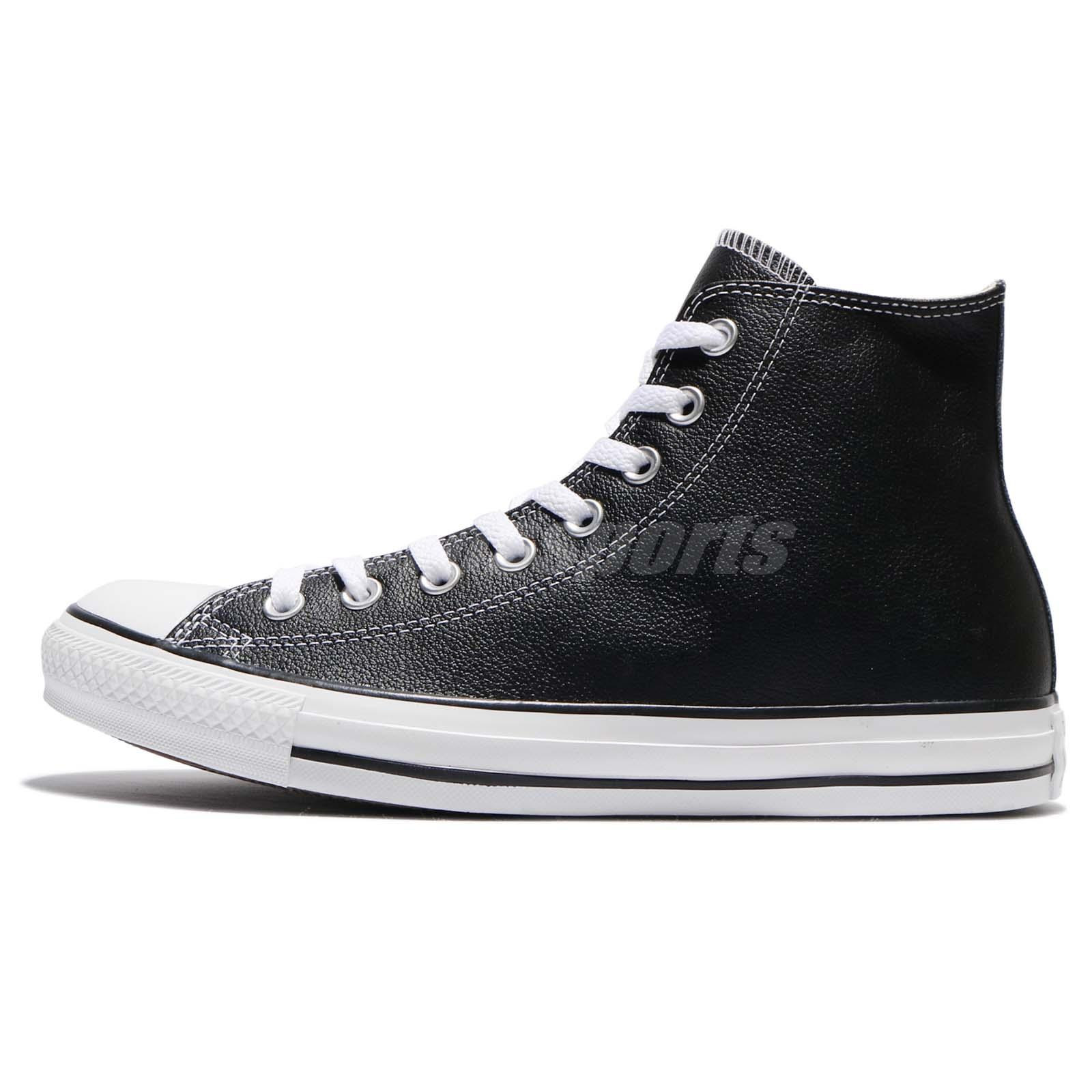 078ecd07efc6 Converse Chuck Taylor All Star Hi Black Leather Men Women Sneakers Shoes  132170C