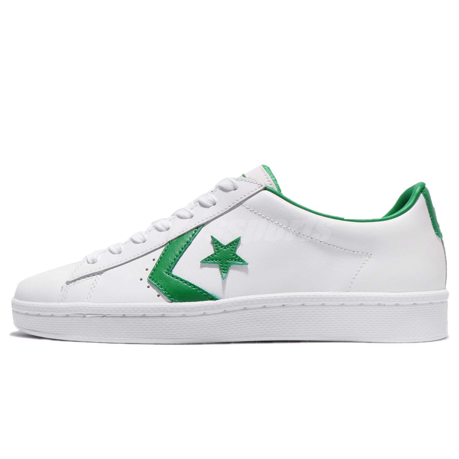 4eefecc0e4cad5 Converse PL 76 Cons Pro Leather Low White Green Leather Men Shoe Sneaker  157808C