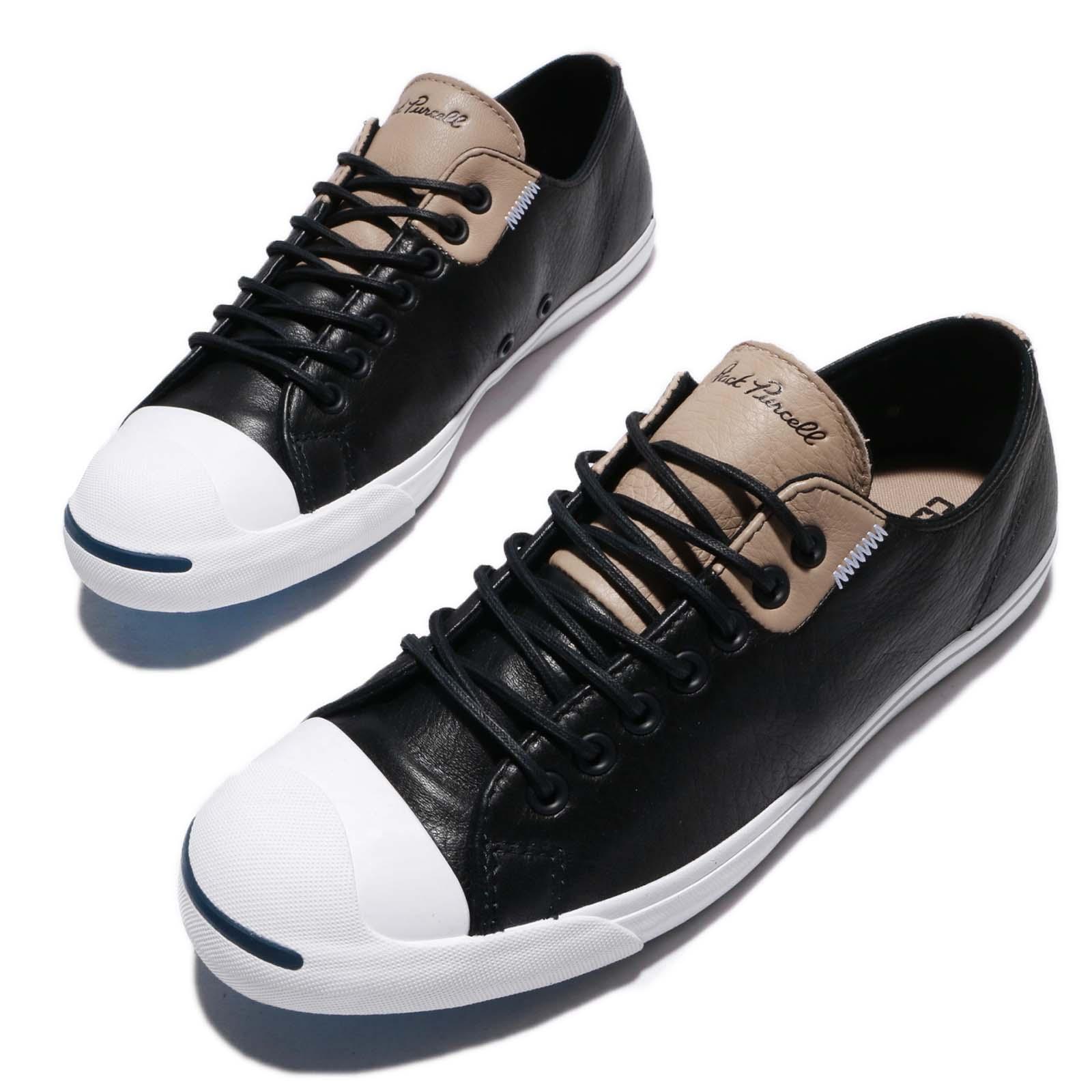281a1f6fb748 Details about Converse Jack Purcell LP LS Leather Black Khaki White Men  Women Shoes 160205C