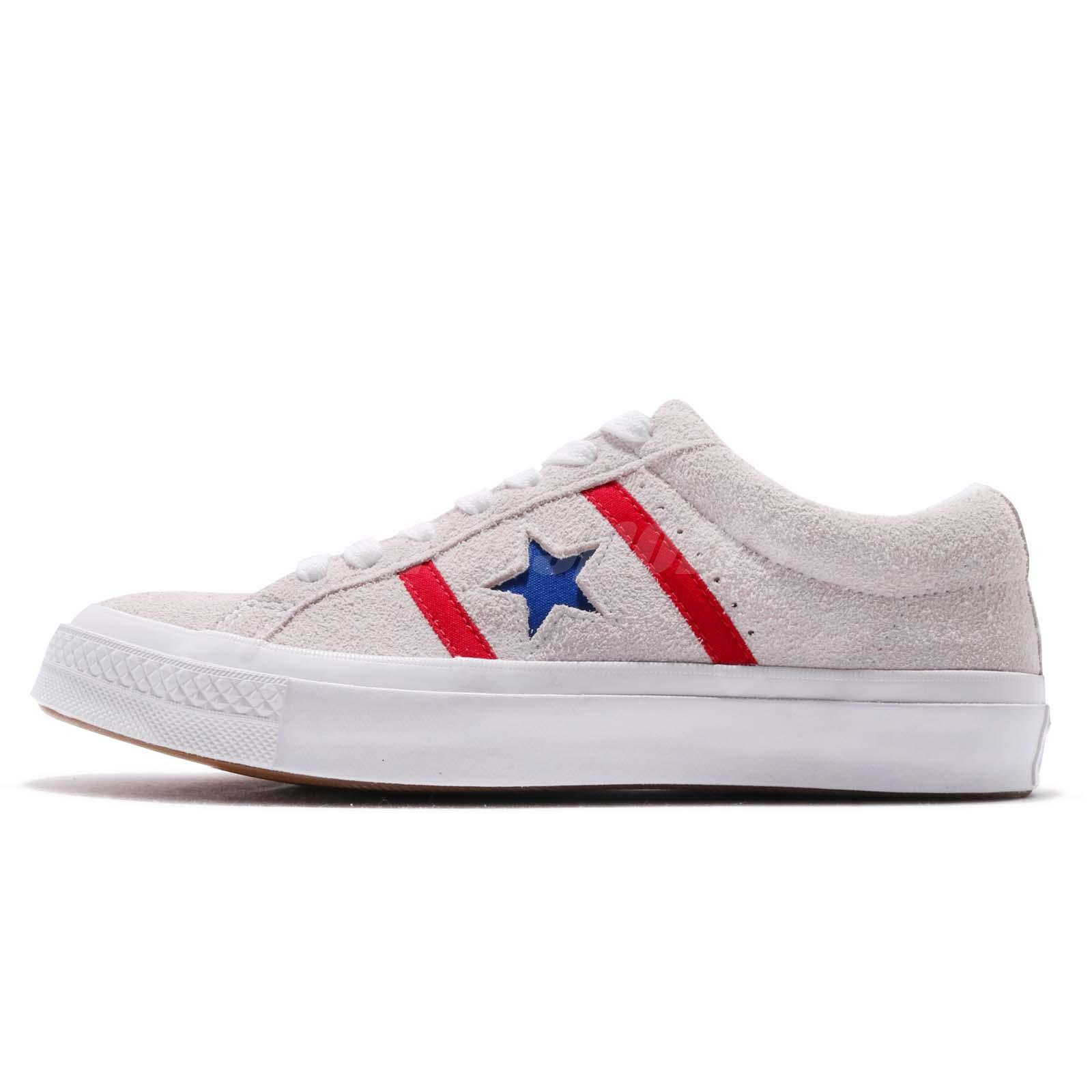 39bec36d62ace3 Converse One Star Academy OX Grey Red Blue Gum Suede Men Women Shoes 164390C