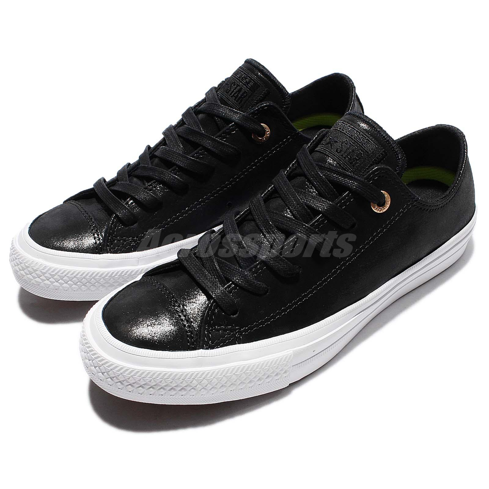 74d483e5e720a1 Details about Converse Chuck Taylor All Star II 2 Craft Leather Blac White  Women Shoes 555958C