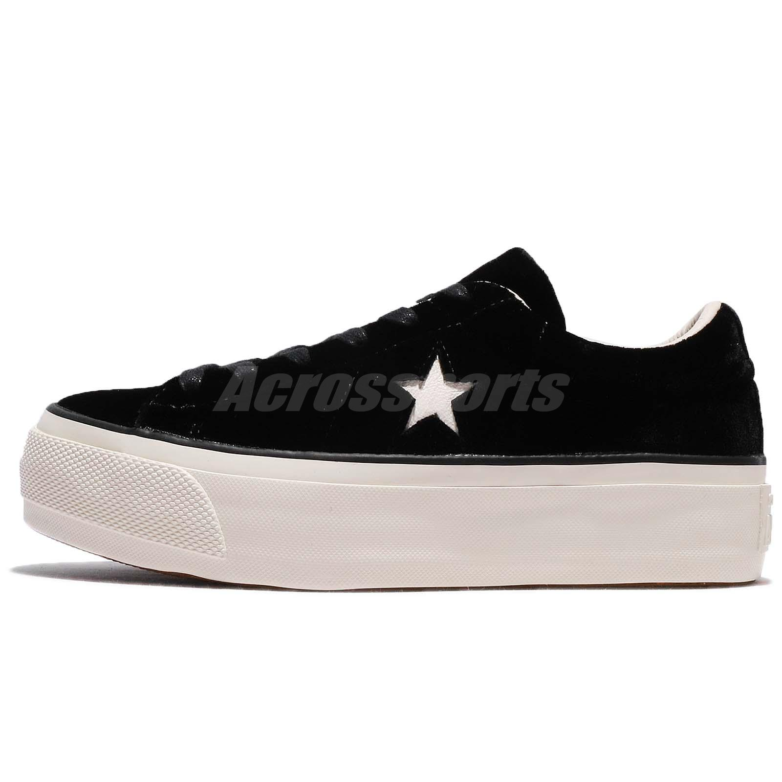 a48229ec232b Converse One Star Platform Velvet Black Ivory Low Women Shoes Sneakers  558950C
