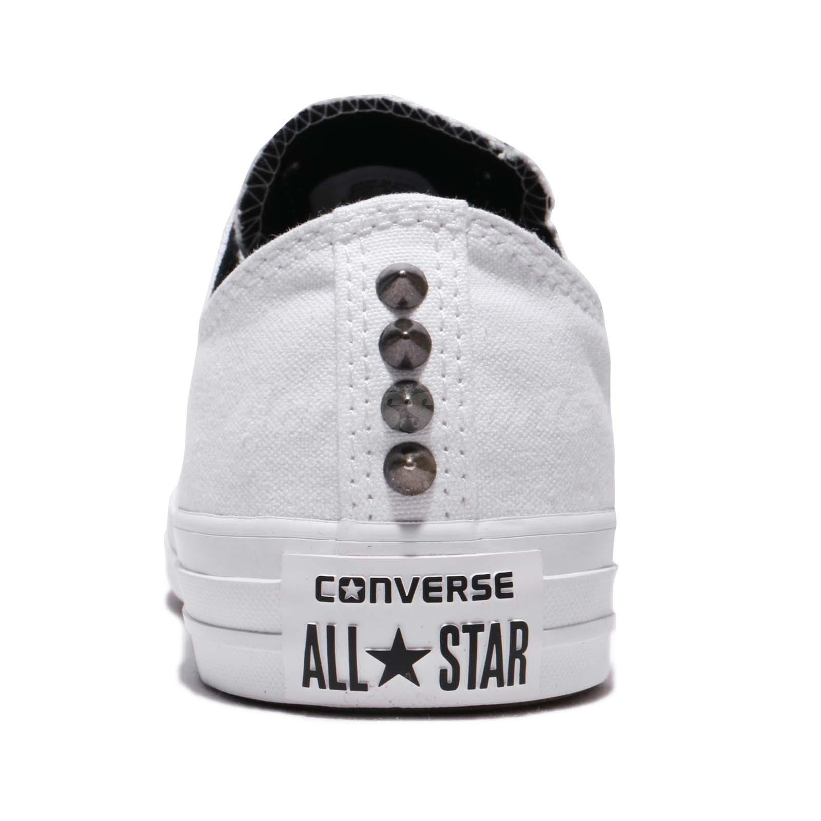 Converse Chuck Taylor All Star Low Canvas Stud White Black Women ... 57a48b6be
