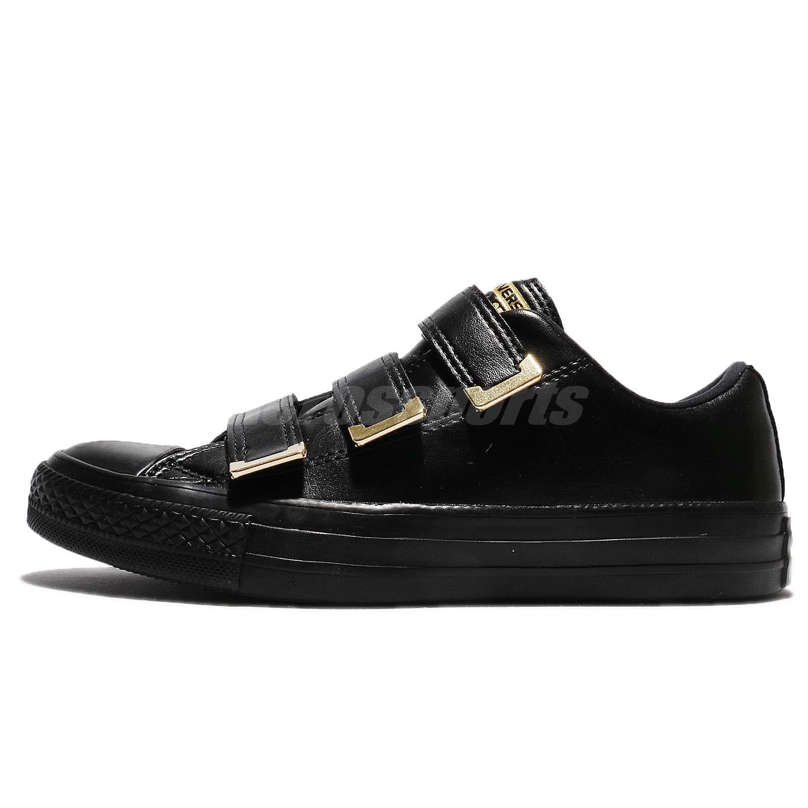 b7180fa495b40e Converse Chuck Taylor All Star 3V Low Strap Black Gold Women Shoes 559906C