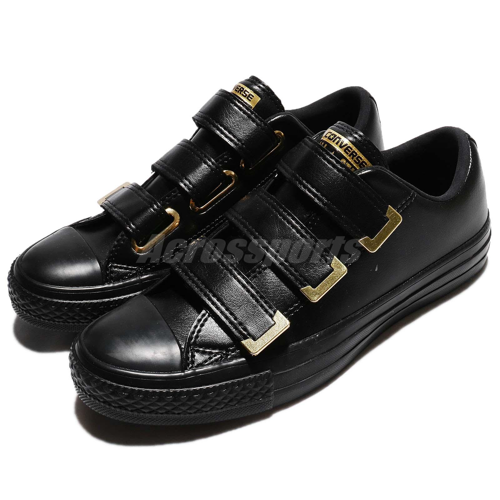 Converse Chuck Taylor All Star 3V Low Strap Black Gold Women Shoes 559906C