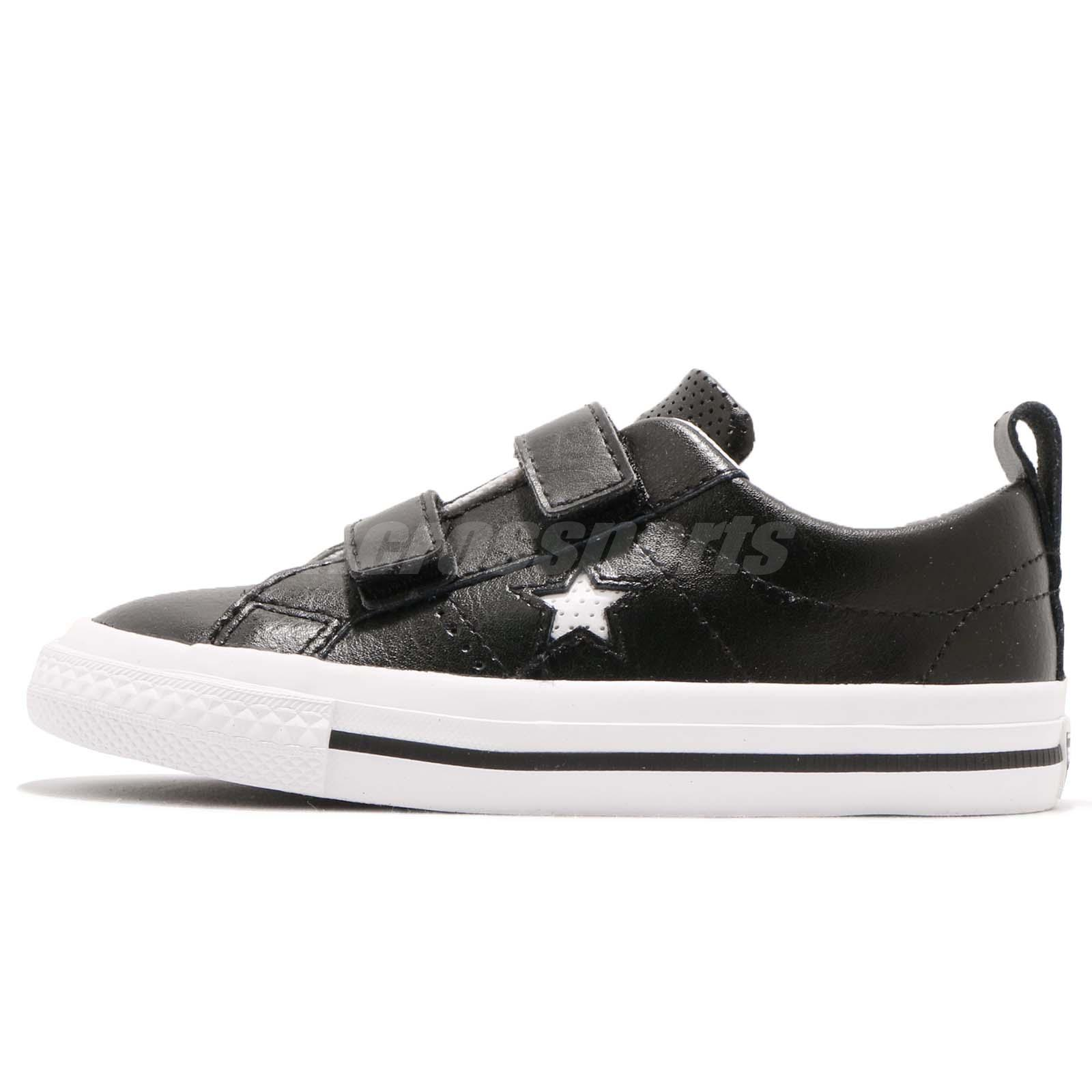 2905960d84ae Converse One Star 2V TD Black White Strap Toddler Infant Baby Shoes 758495C