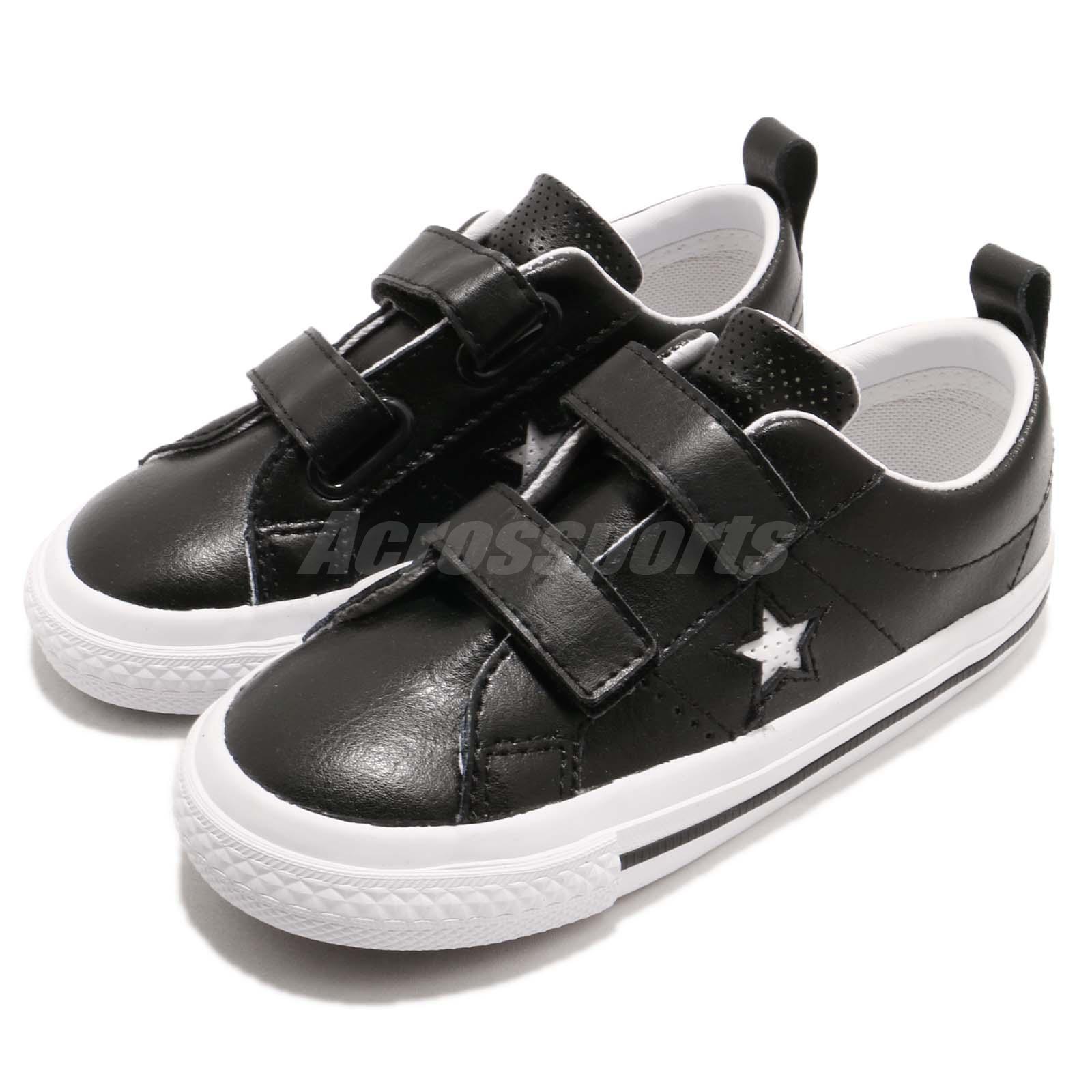 Converse One Star 2v Td Black White Strap Toddler Infant Baby Shoes