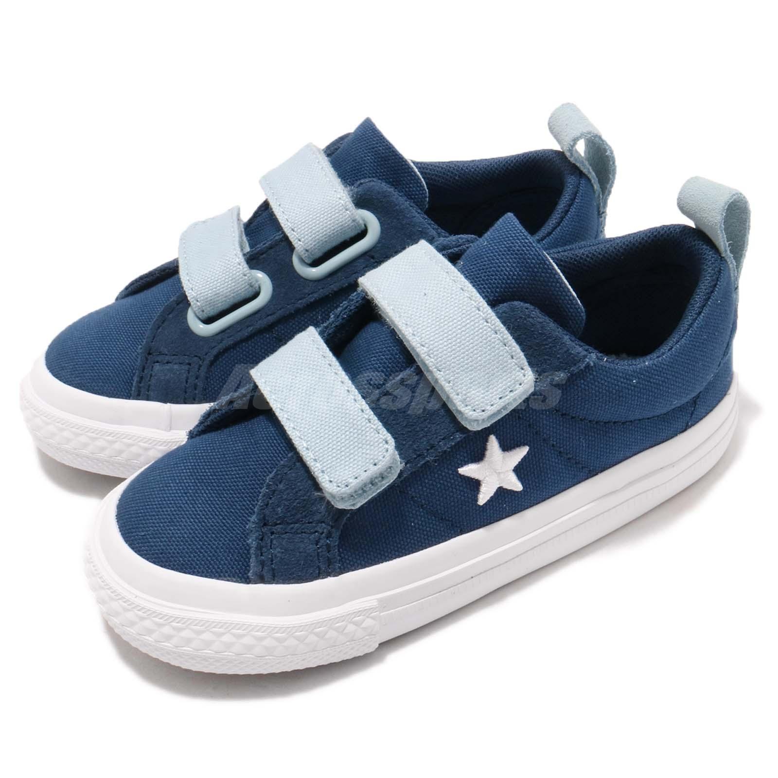 95e558f4b5ba Details about Converse One Star 2V Canvas Straps Blue White Infant Toddler  Shoes 760763C