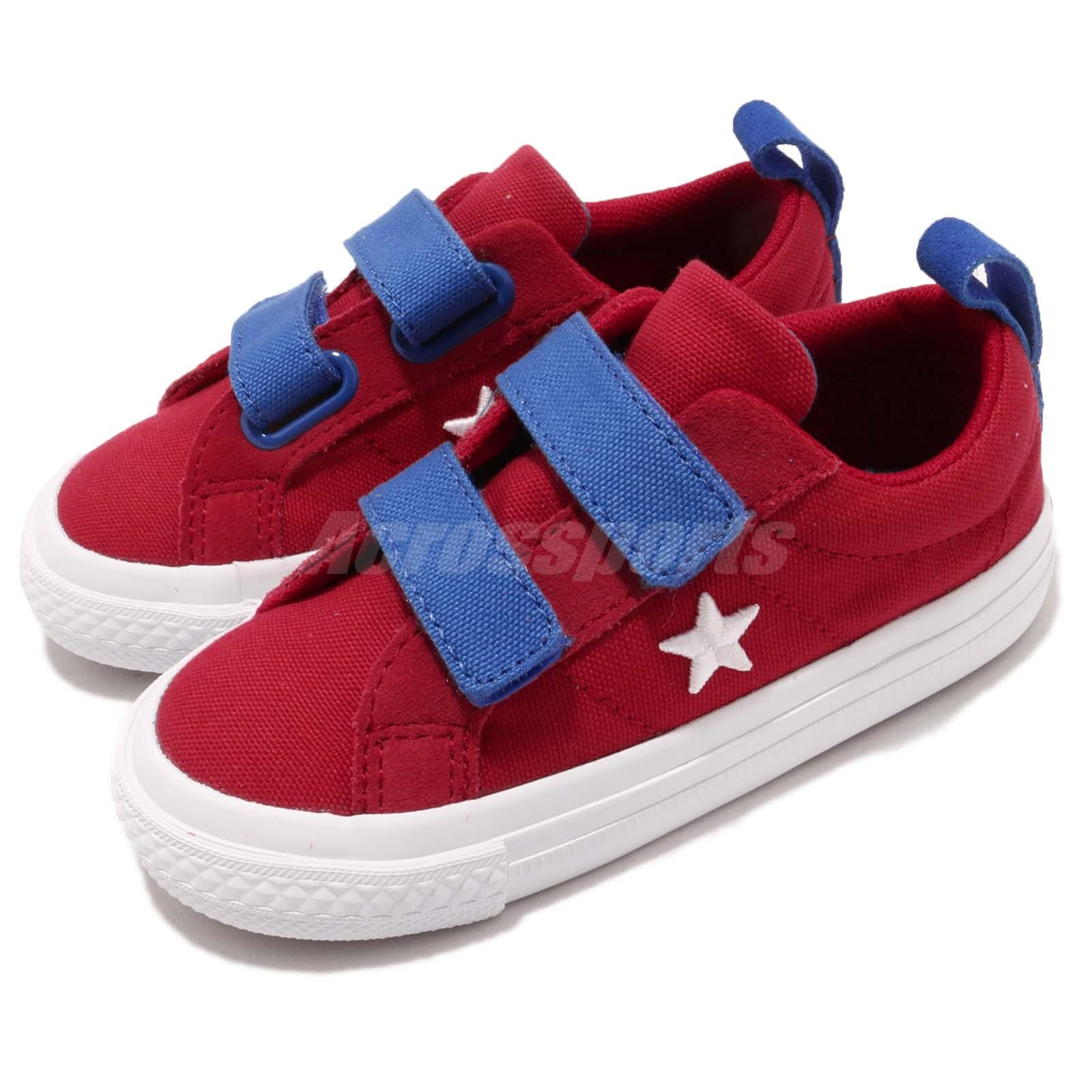 de9ec8dd5c49 Details about Converse One Star 2V Canvas Straps Red Blue White Infant  Toddler Shoes 760765C