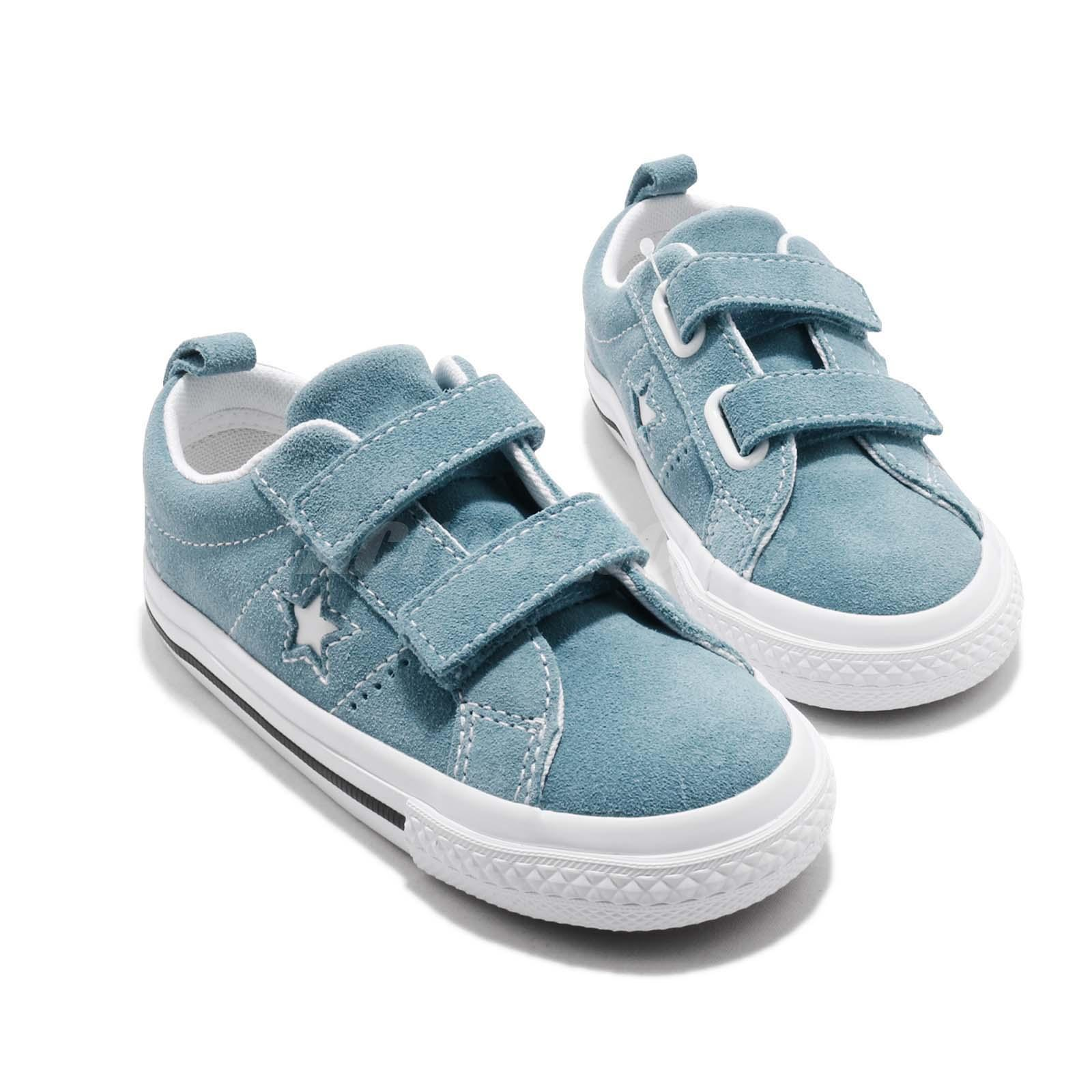 a6a5e015c7f Converse One Star 2V TD Blue White Toddler Infant Baby Shoes ...