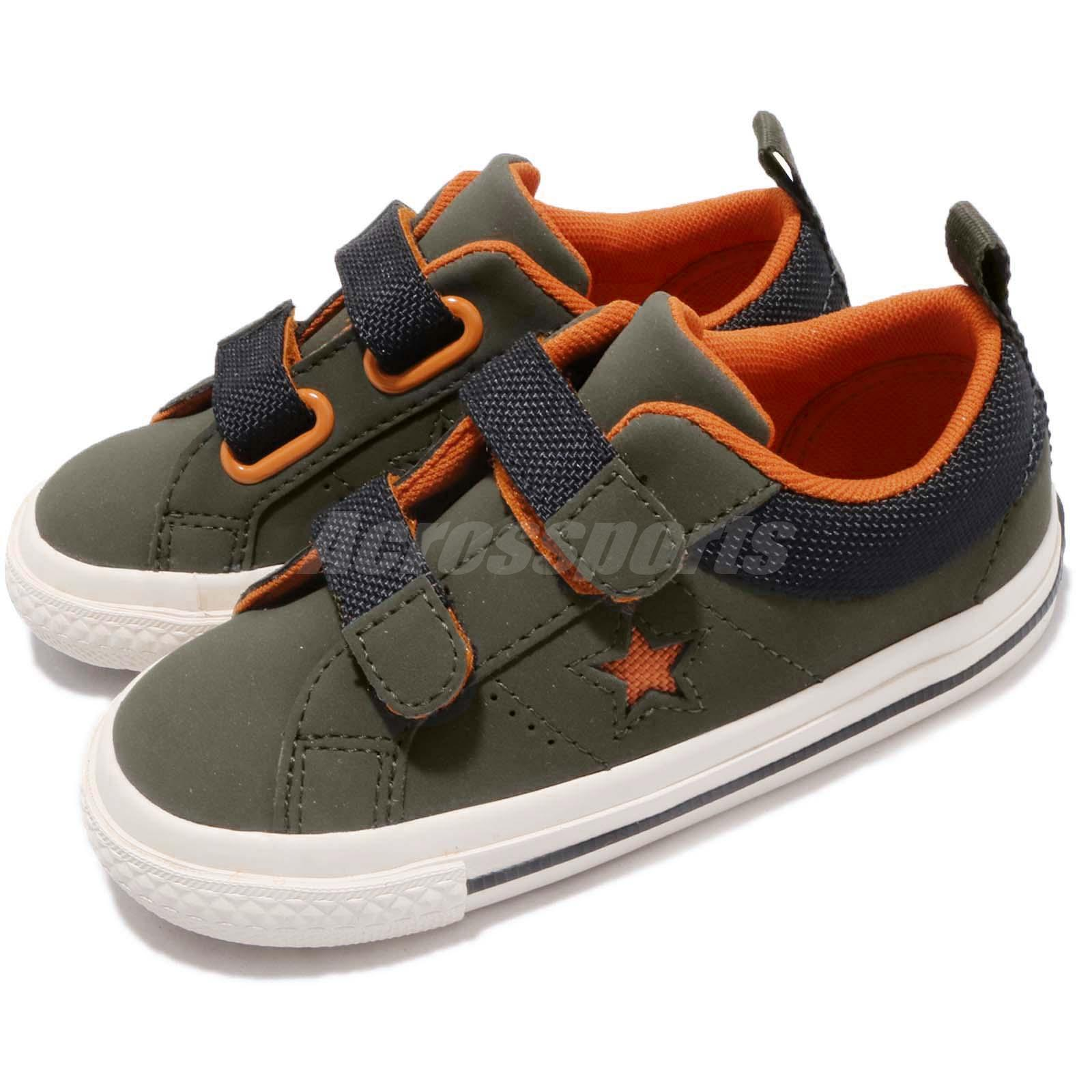 089ee9395f7055 Details about Converse One Star 2V OX Utility Green Orange TD Toddler Infant  Baby Shoe 762858C