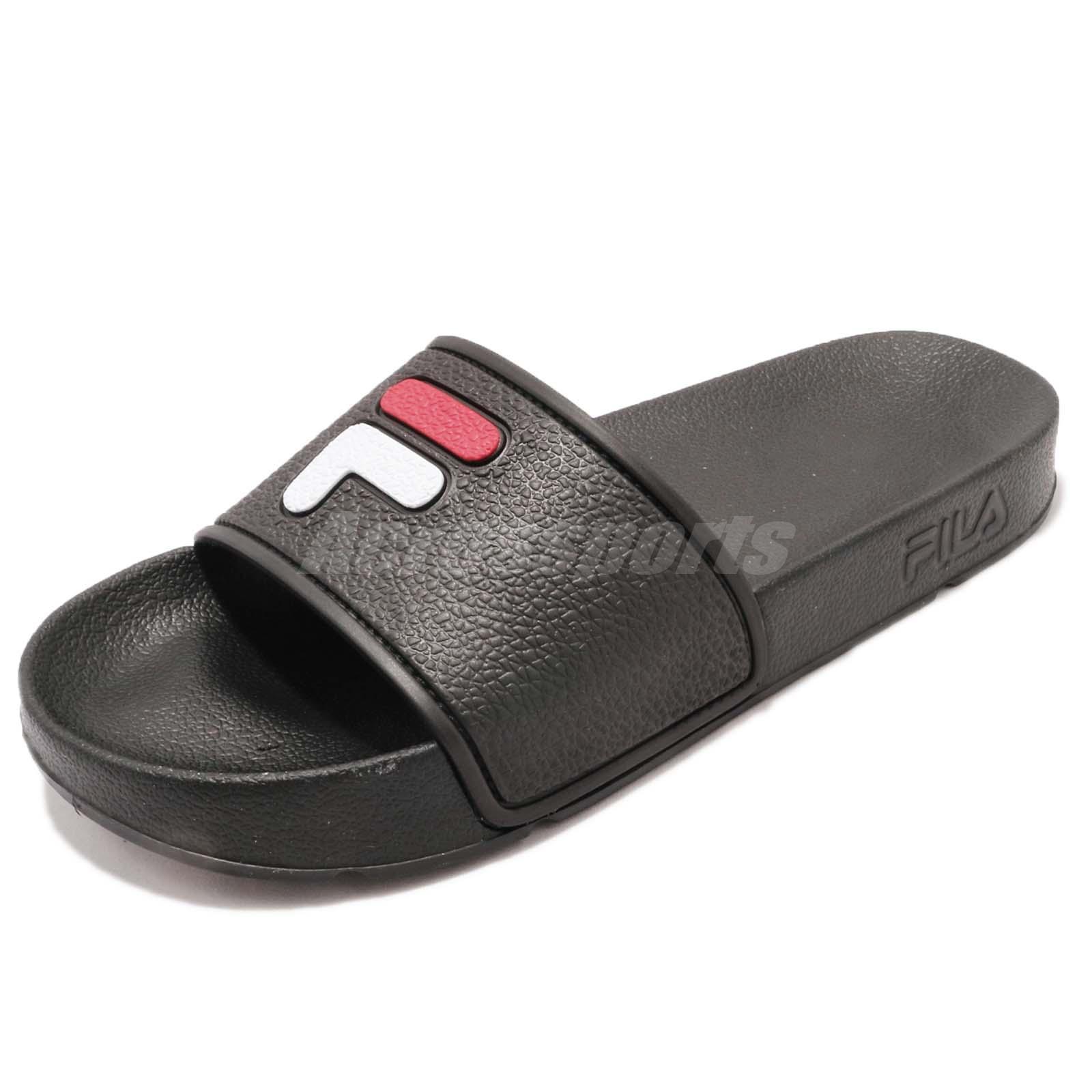 84f24155d93eb Fila S316S Logo Black Red White Rubber Men Women Sports Sandals Slides  Slippers