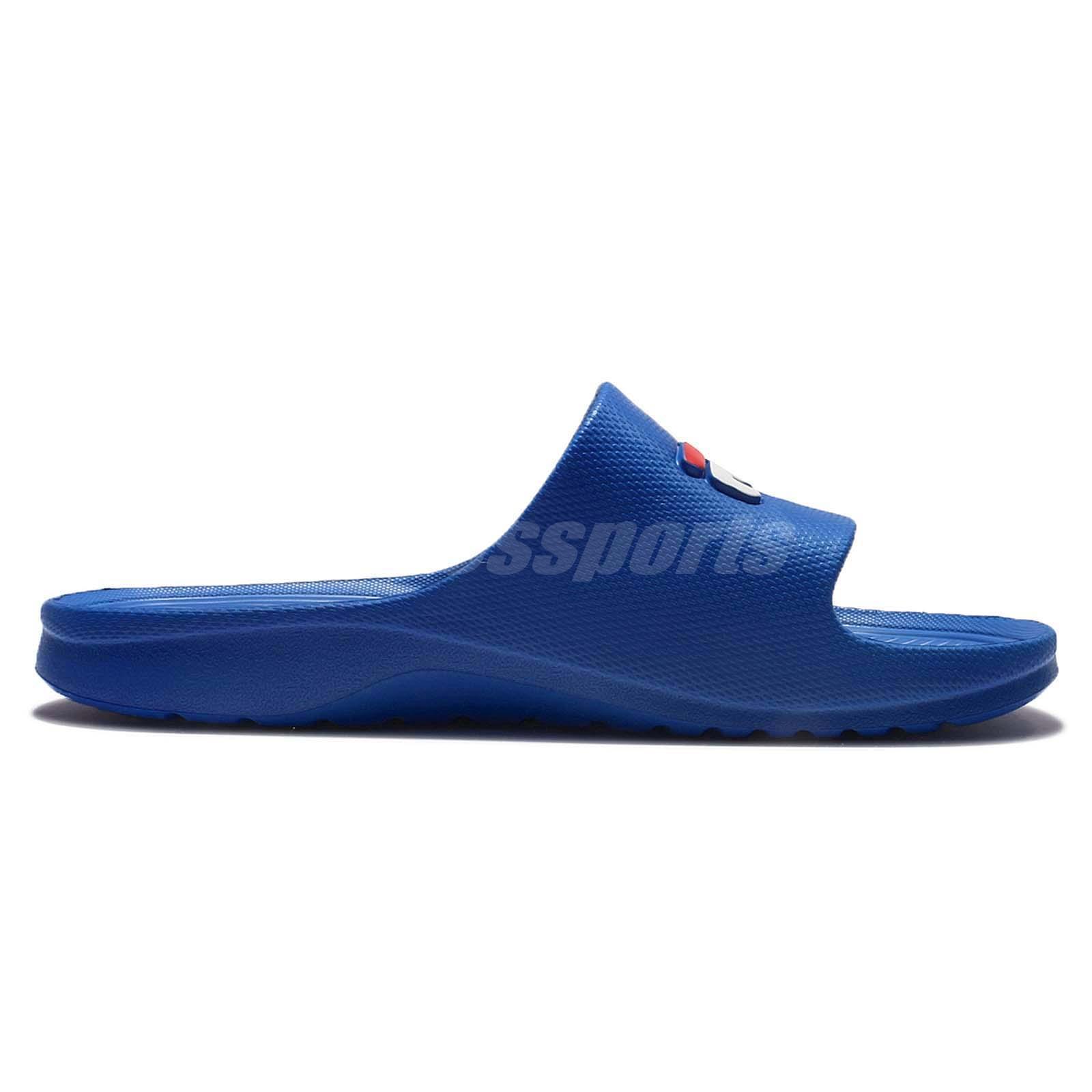 b1c0c8018719 Fila S355Q Solid Blue White Mens Sports LOGO Sandals Slides Slippers ...