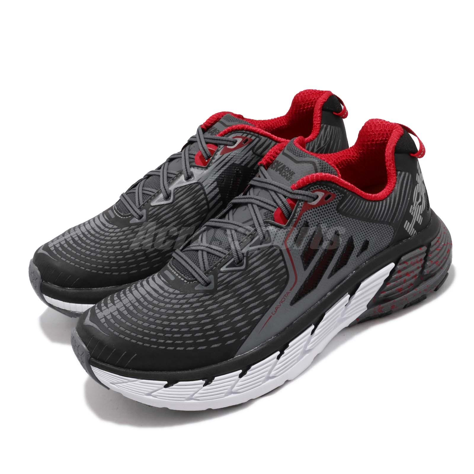 new styles 91f2c 47658 Details about Hoka One One Gaviota Wide Black White Red Mens Cushion  Running Shoe 1019623-BFON