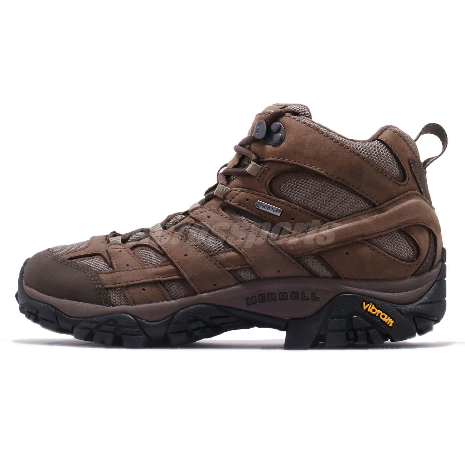 4f474b3bdc Merrell Moab 2 Smooth Mid GTX Gore-Tex Brown Black Men Outdoors Shoes J46553