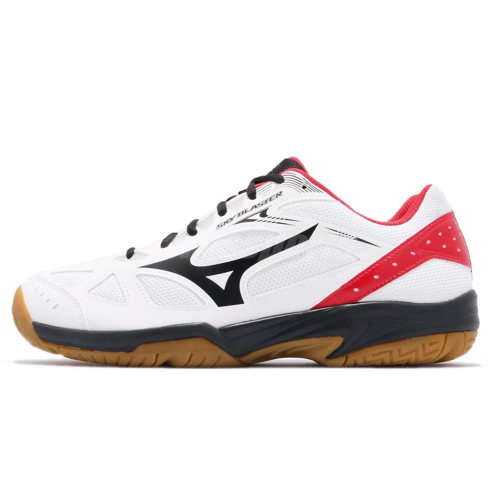 1944a010d9 Mizuno Sky Blaster White Black Red Gum Men Badminton Volleyball Shoe  71GA1945-09