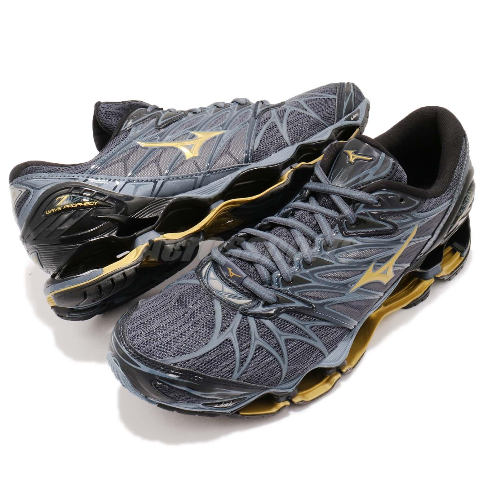 1085c7fbb064 Mizuno Wave Prophecy 7 VII Grey Blue Gold Men Running Shoes Sneakers ...