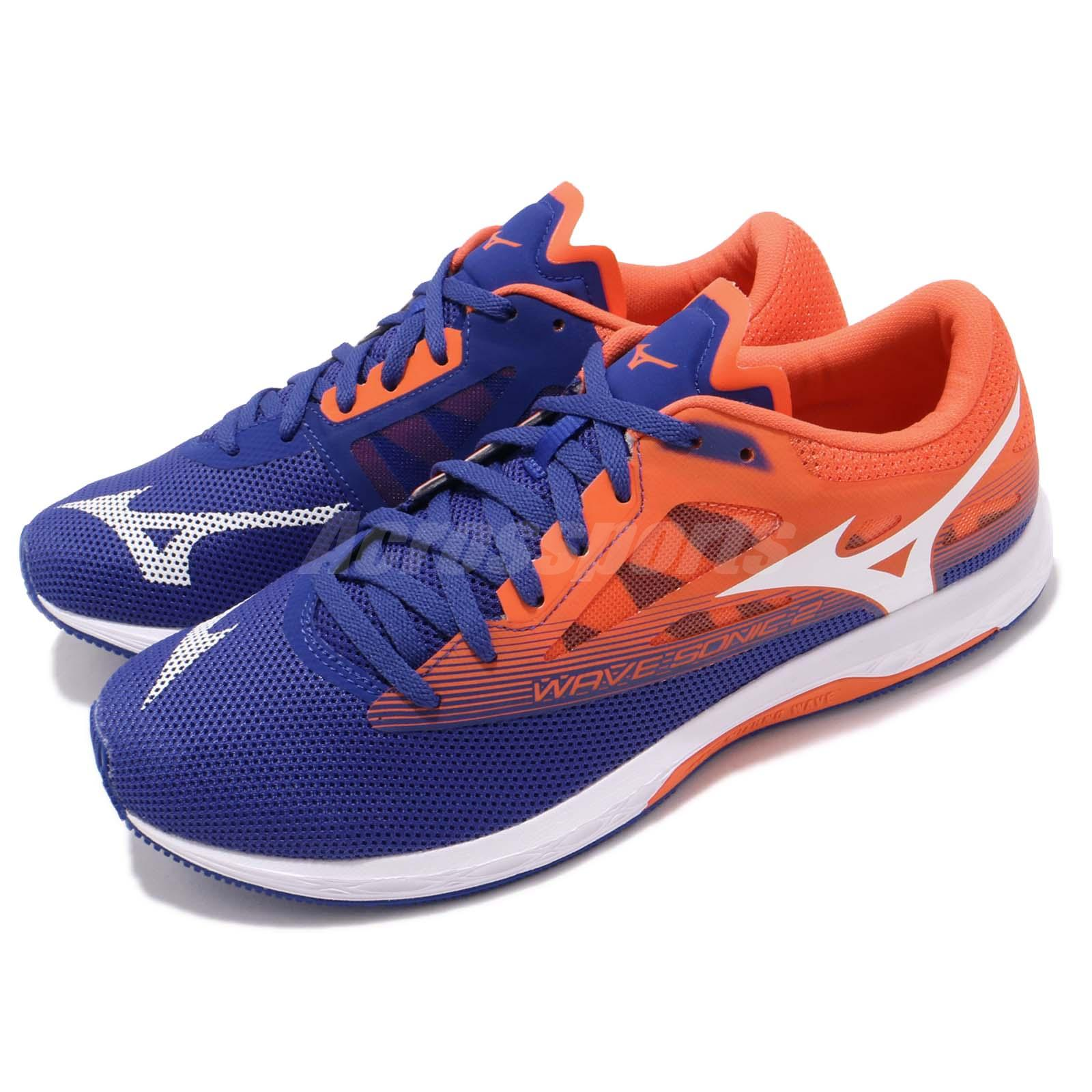 Details about Mizuno Wave Sonic 2 Blue Orange White Men Running Racing Shoes  U1GD1934-01 74446a19b