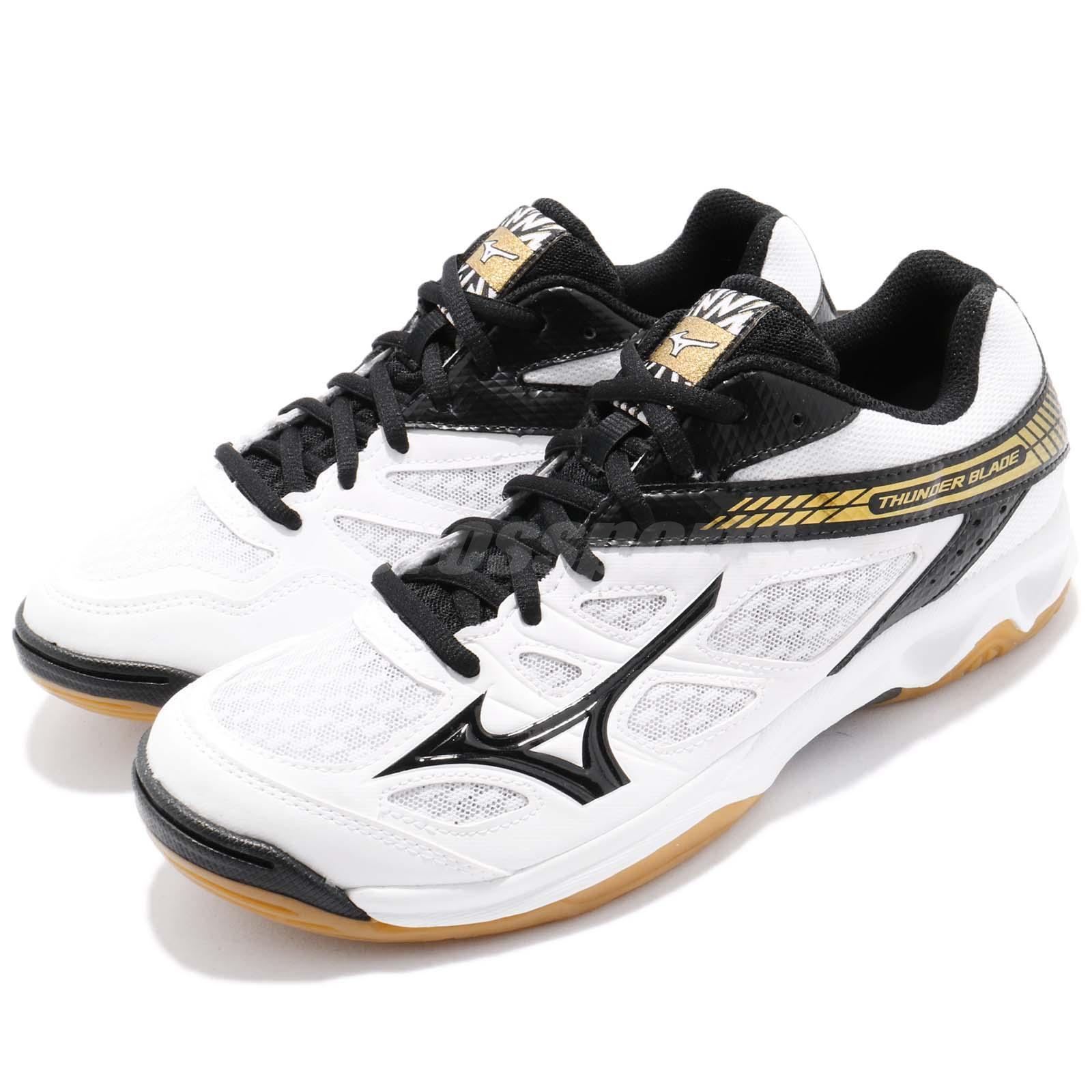 Mizuno Thunder Blade Black Yellow Gum Men Volleyball Badminton Shoes V1GA1770-05