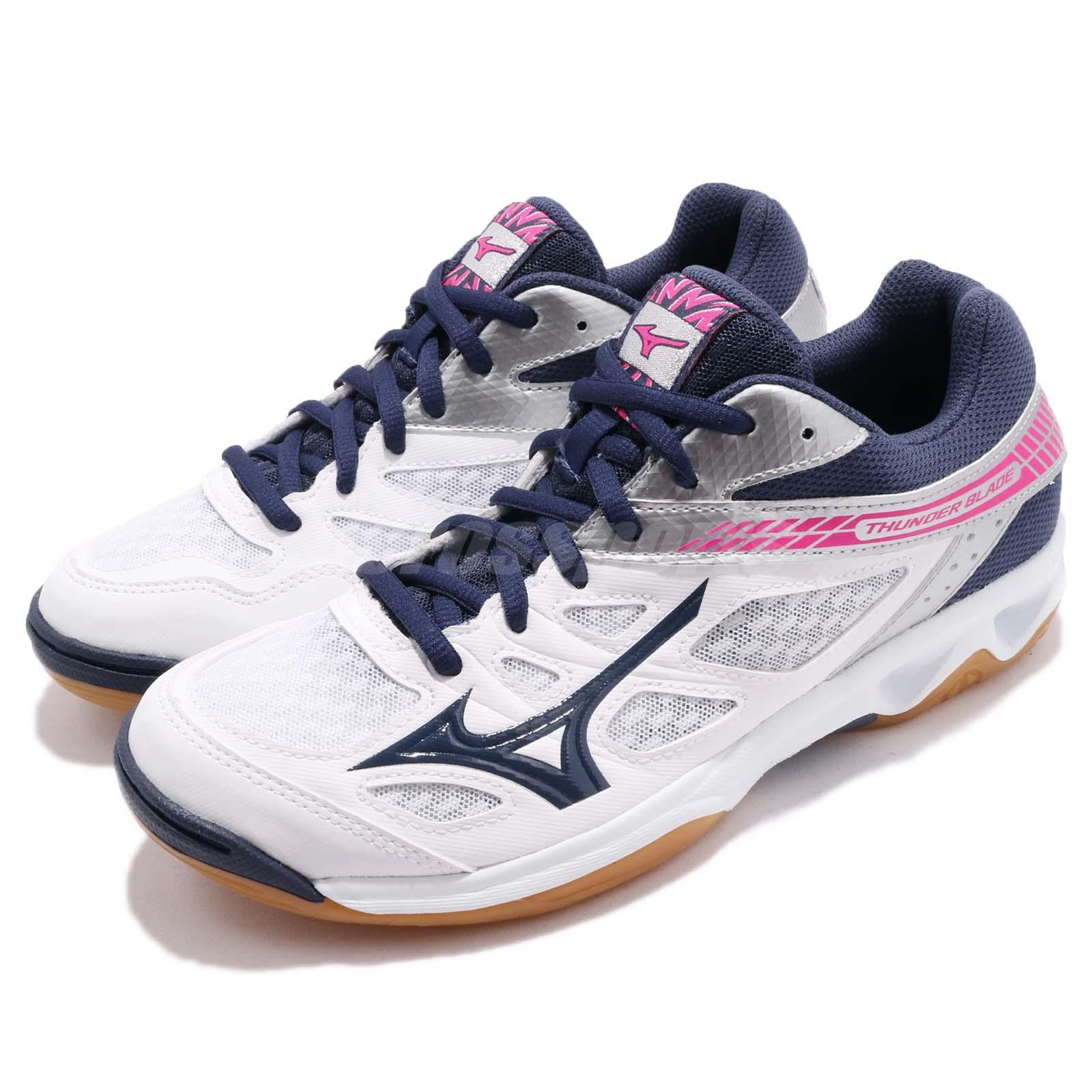 92ccd8ae0c Details about Mizuno Thunder Blade White Navy Pink Men Volleyball Badminton  Shoes V1GA1770-16