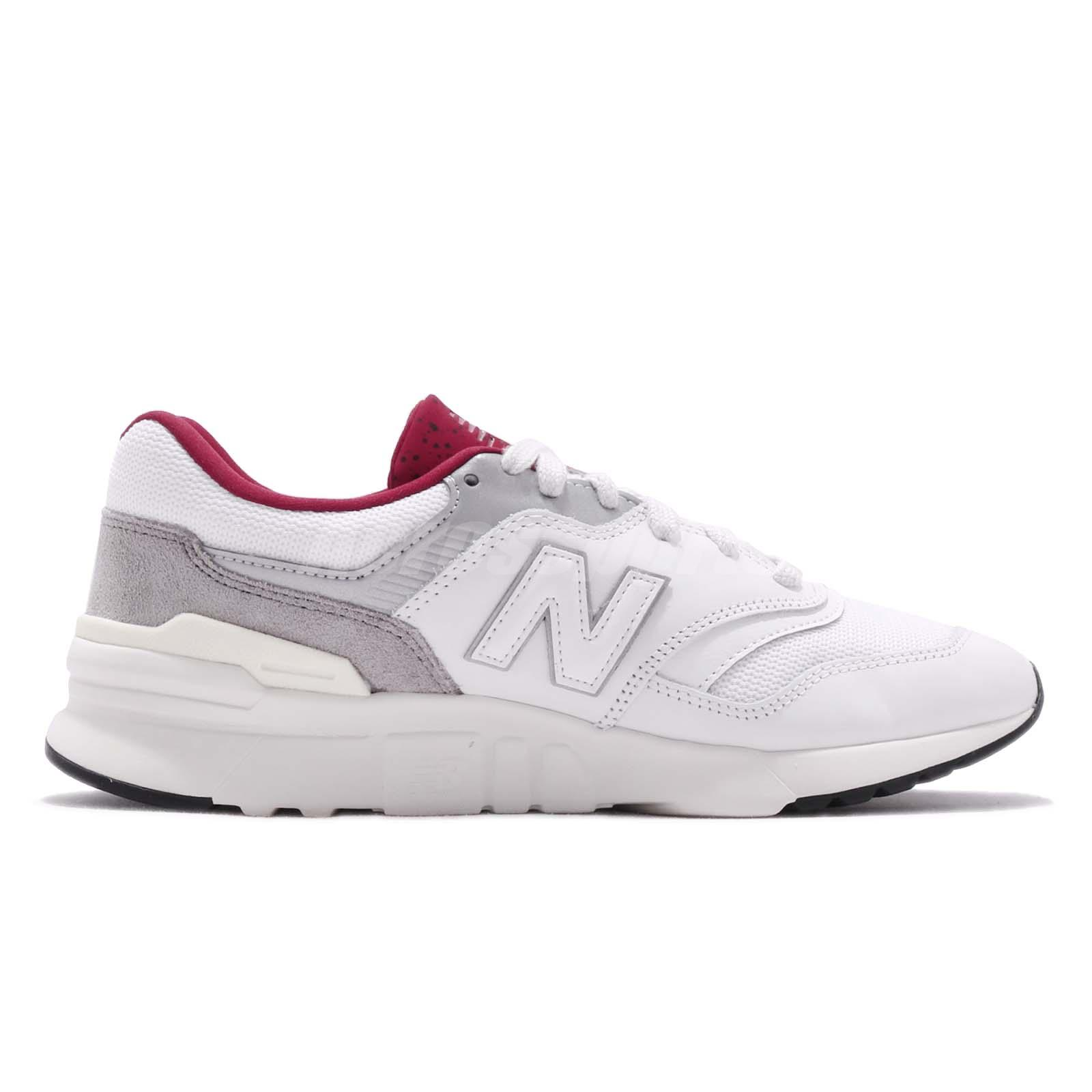 916c8e322a524 New Balance 997 White Grey Red Mens Classic Retro Running Shoes ...