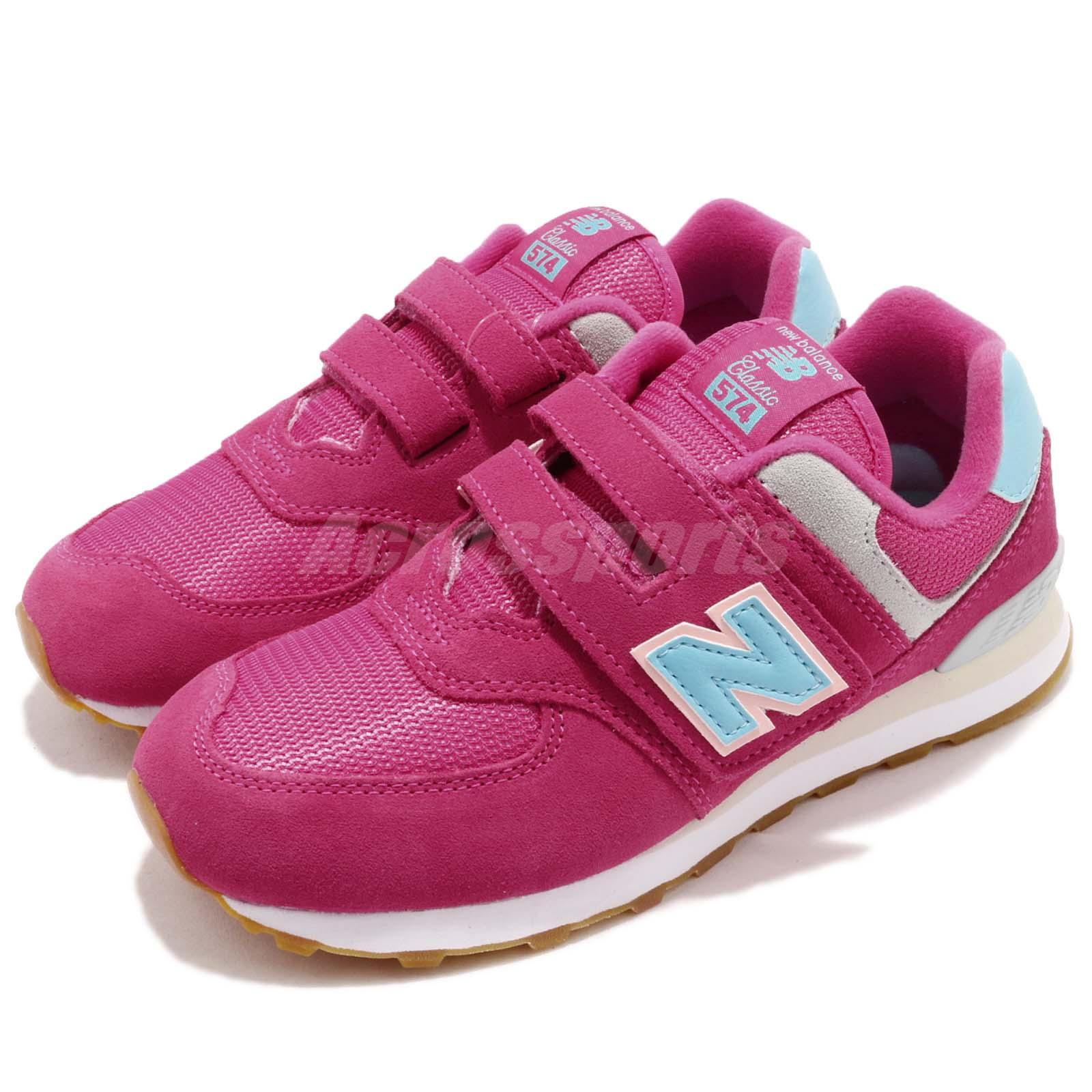 size 40 027fc c6ceb Details about New Balance 574 Wide Fuchsia Pink Blue Kids Girls Running  Shoes YV574 SCW