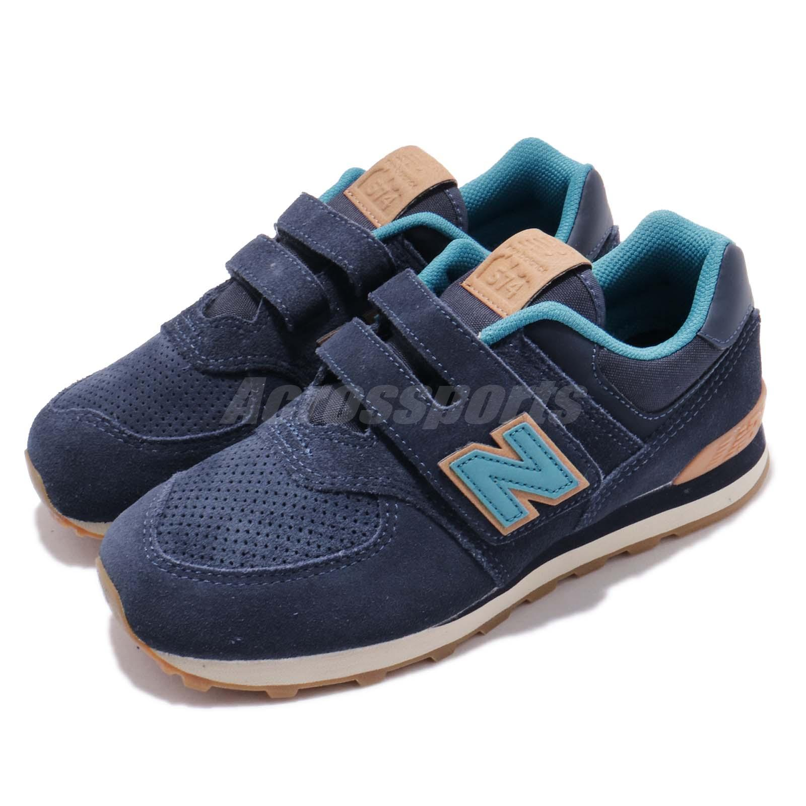 54456899 Details about New Balance 574 Wide Navy Blue Brown Kids Running Shoes  YV574TI W