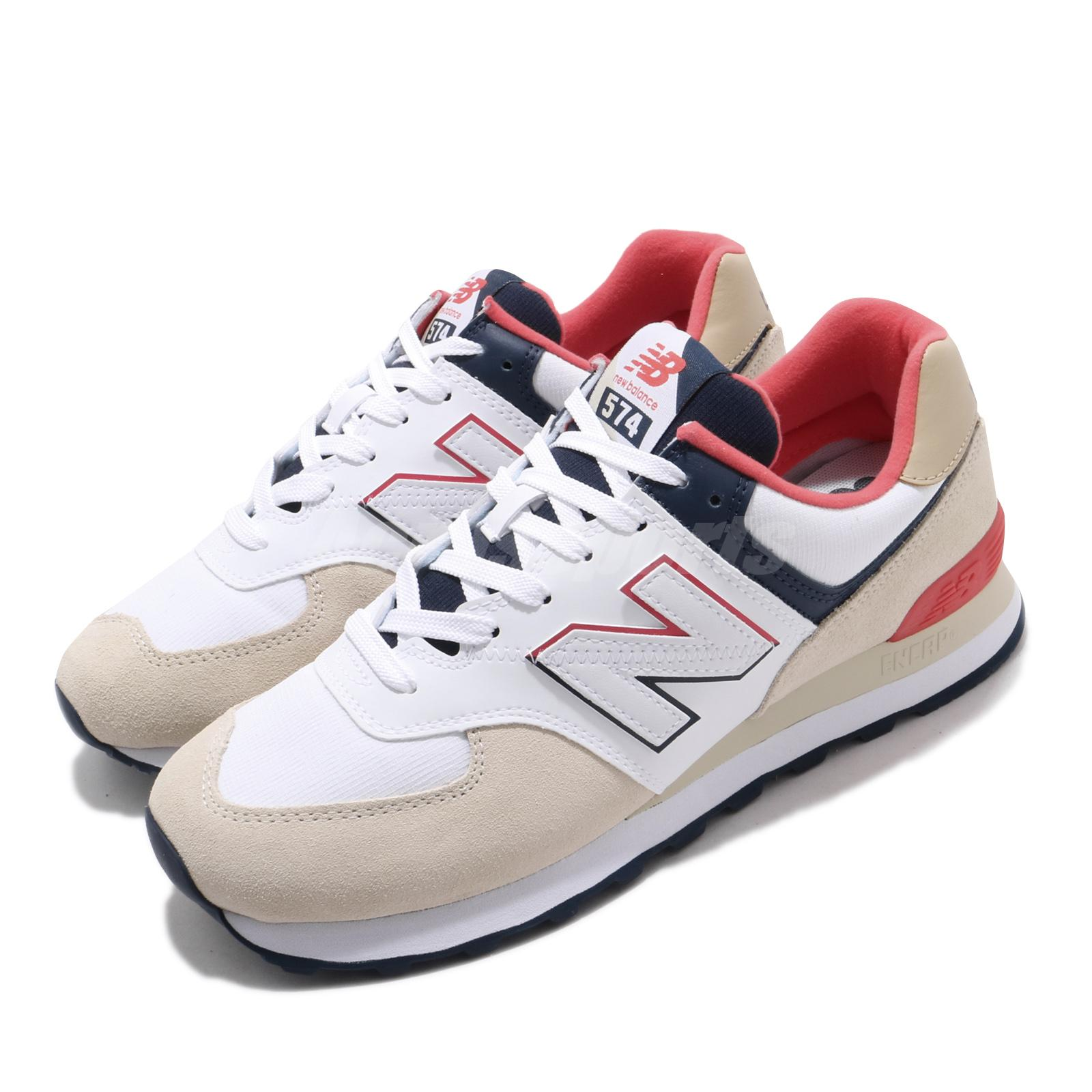 New Balance 574 White Khaki Navy Red
